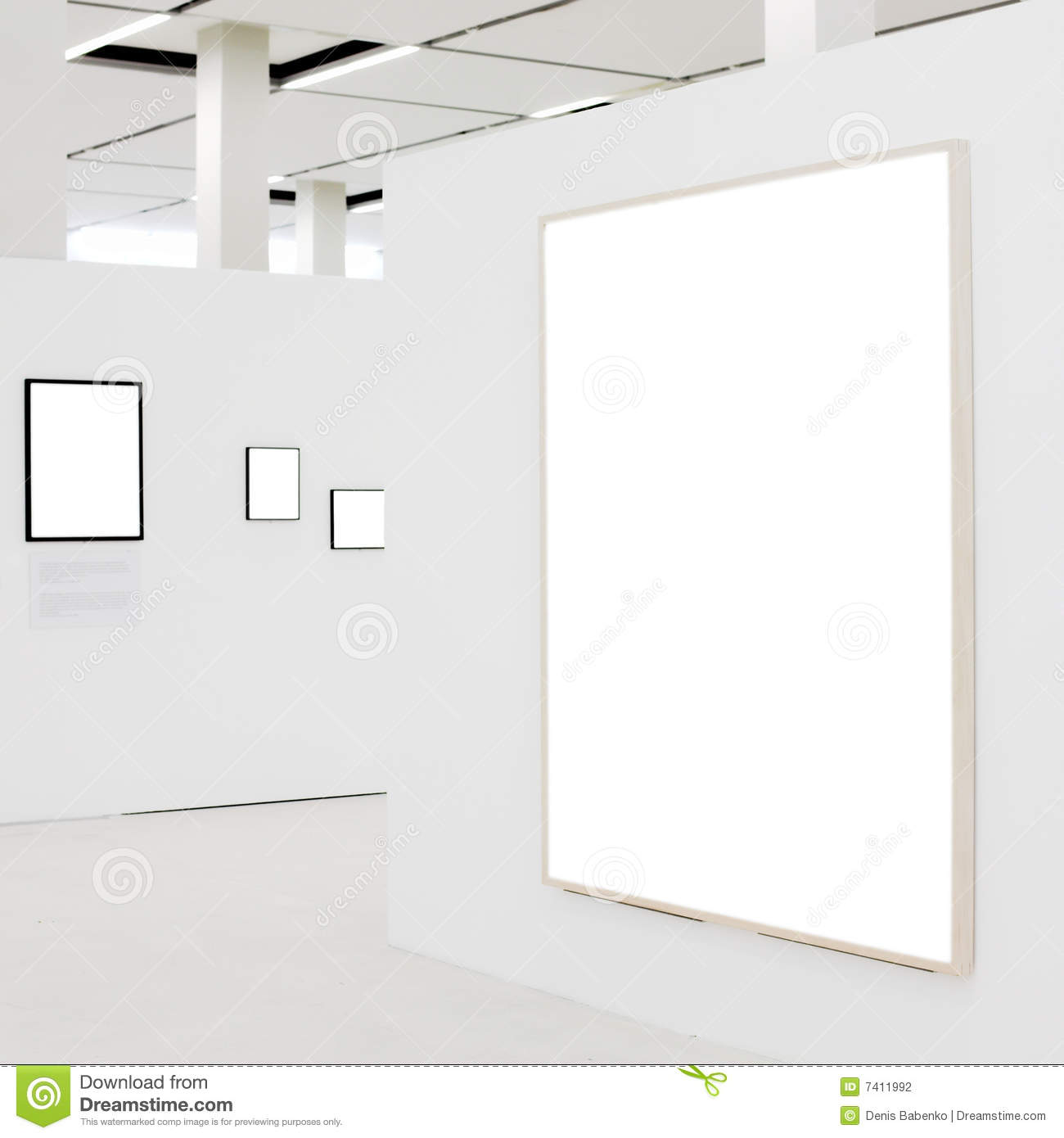 Big Empty Frame On White Wall Exhibition Stock Photography