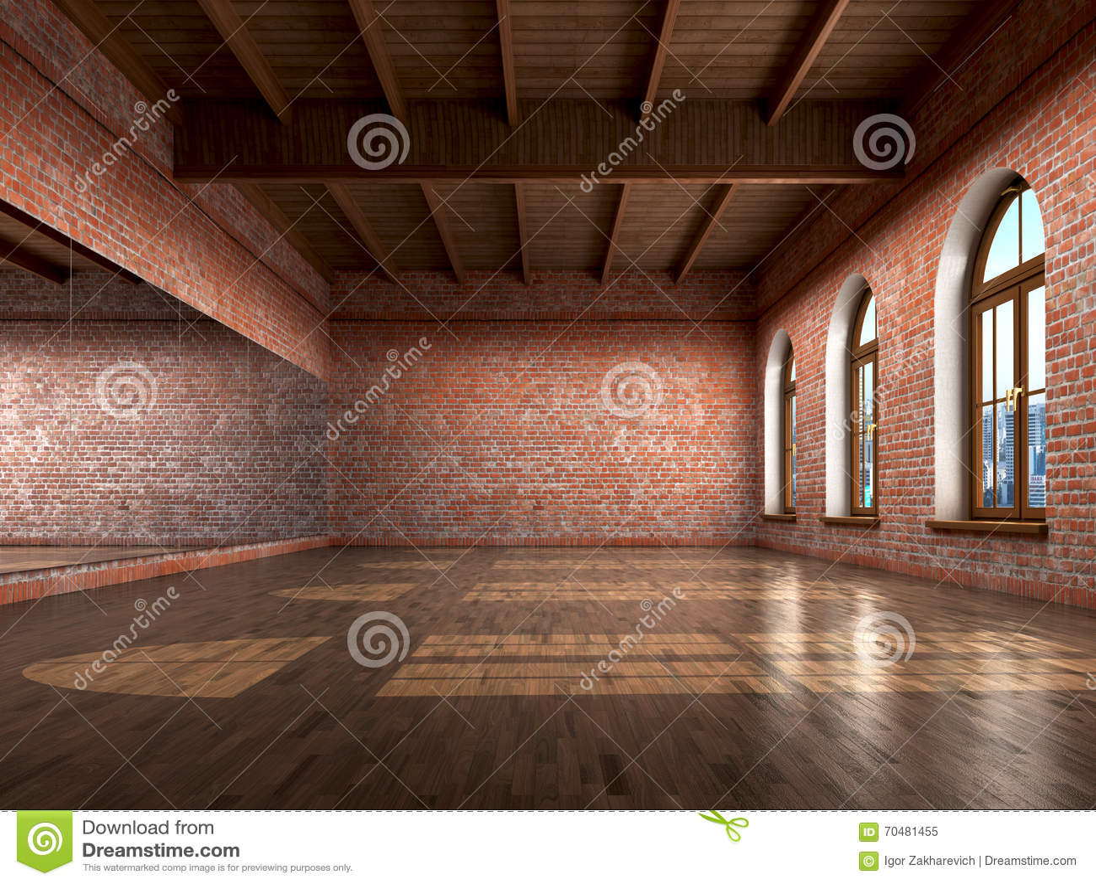 Big Empty Room In Grange Style With Wooden Floor Stock