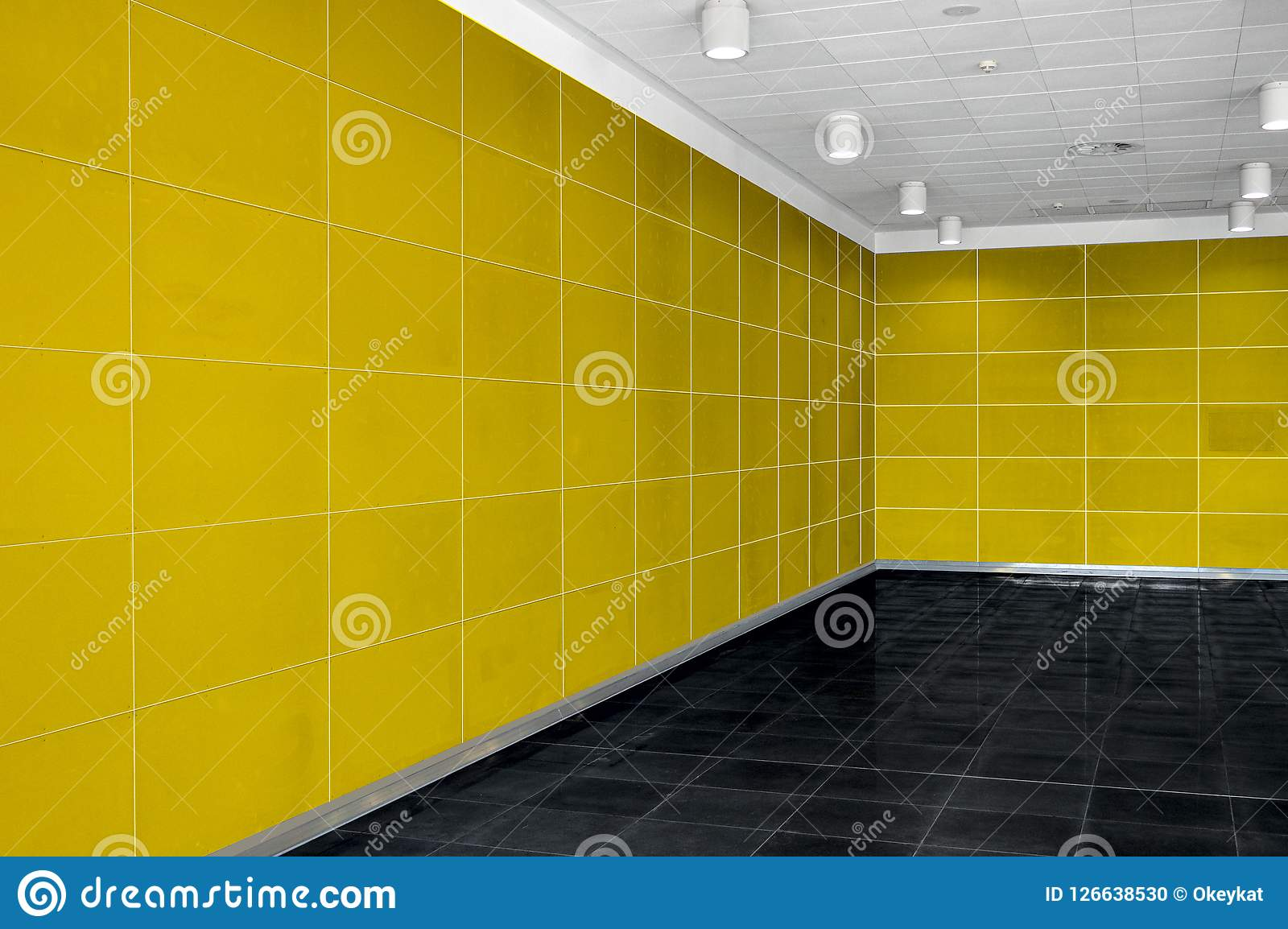 Big empty room interior with bright yellow wall, whire ceiling a