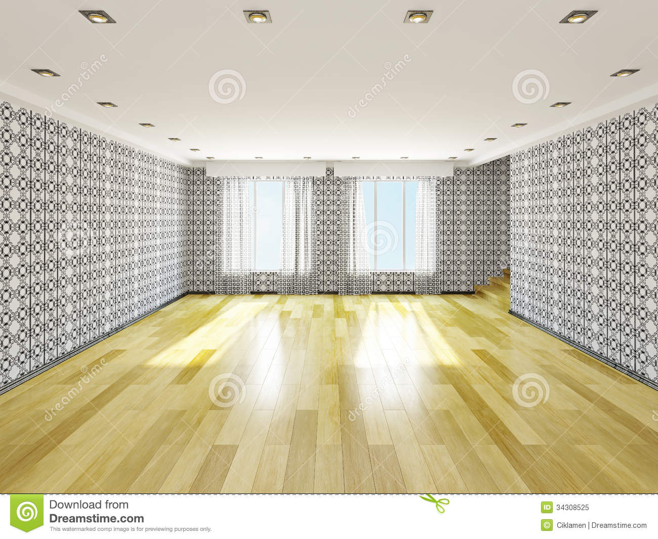 The big empty room stock illustration. Illustration of architecture ...