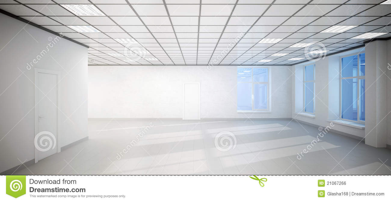Big Empty White Room Office With Three Windows Stock