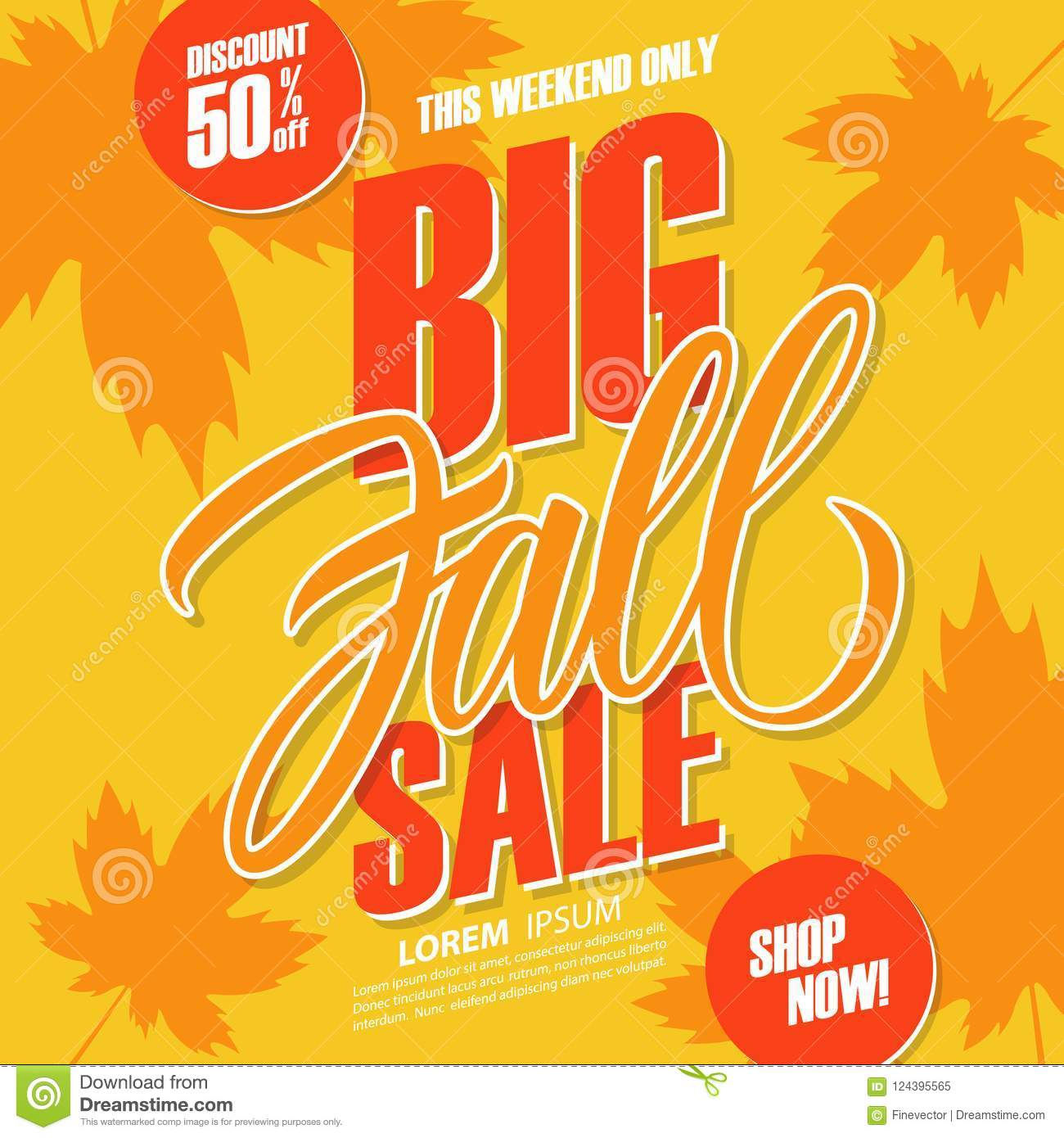 Big Sales This Weekend: Big Fall Sale. This Weekend Special Offer Background With