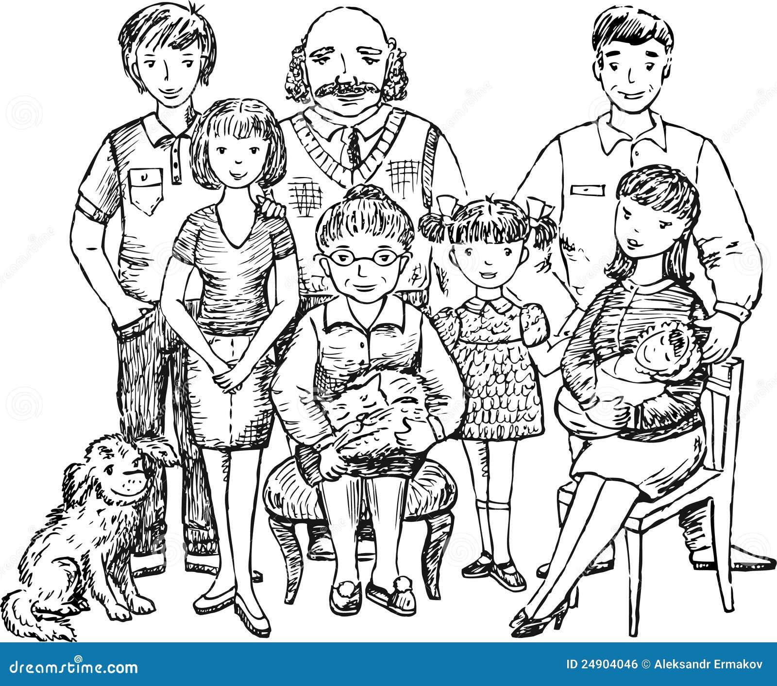 Big Family Stock Vector. Illustration Of United, Child