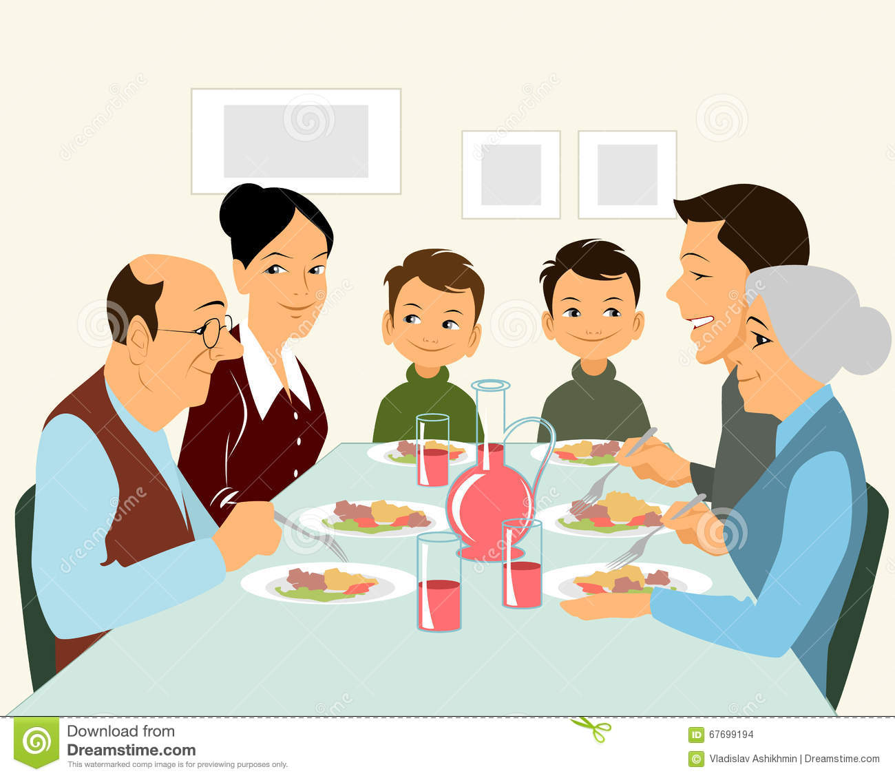 Big Family Eating Stock Vector Image 67699194