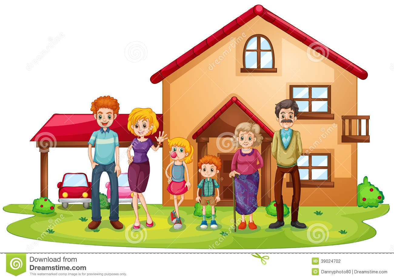 A big family in front of a big house stock vector for Large family living in small house