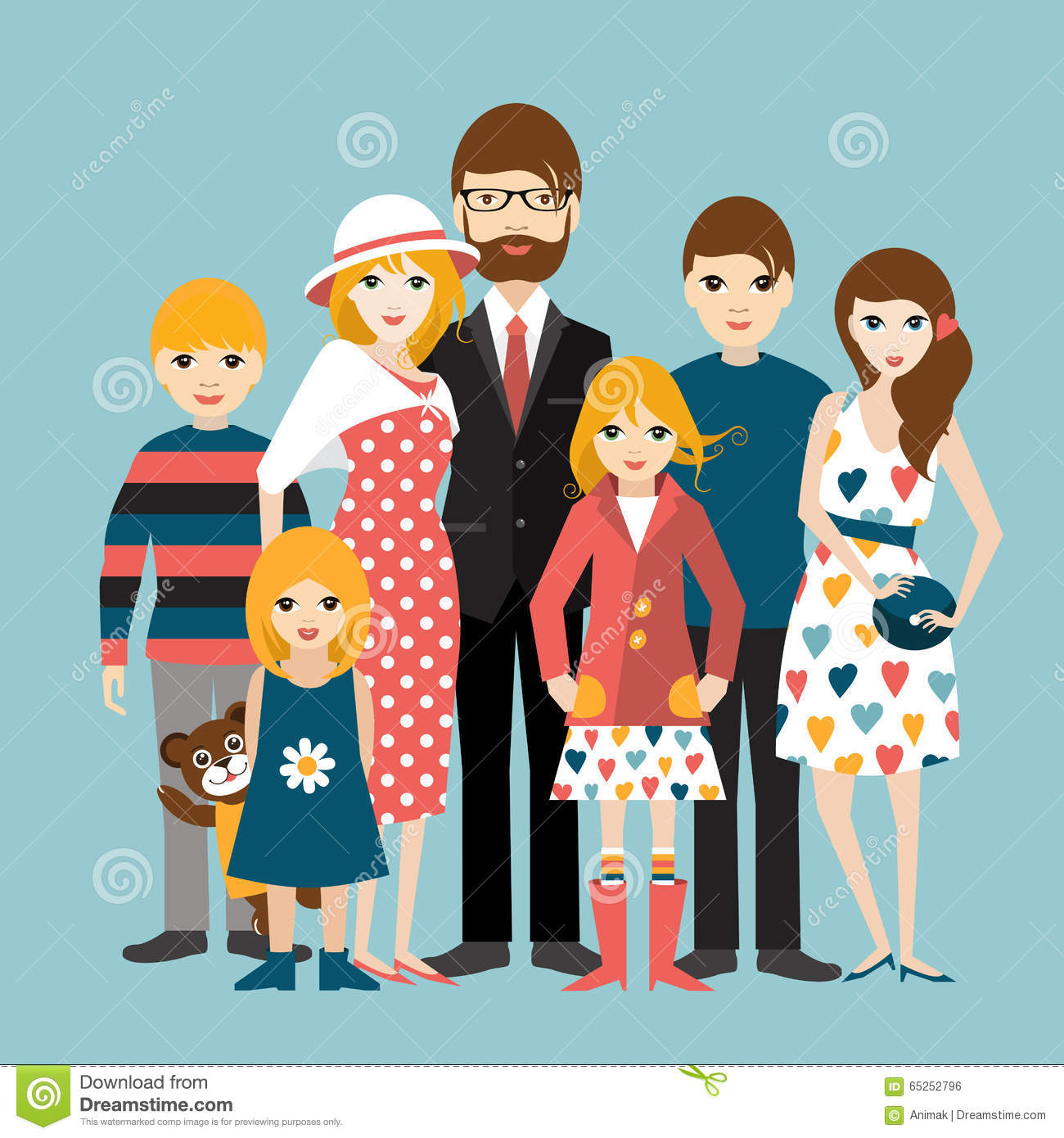 Big Family Many Children Man Woman Love Relationship Stock ...