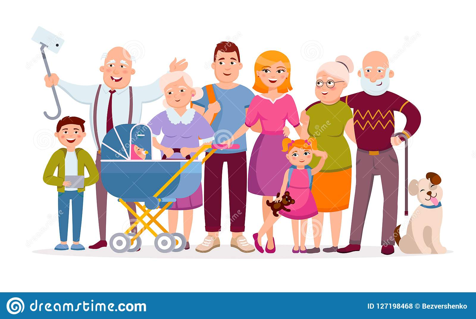 Big Family Standing Together As A Family Portrait Cartoon