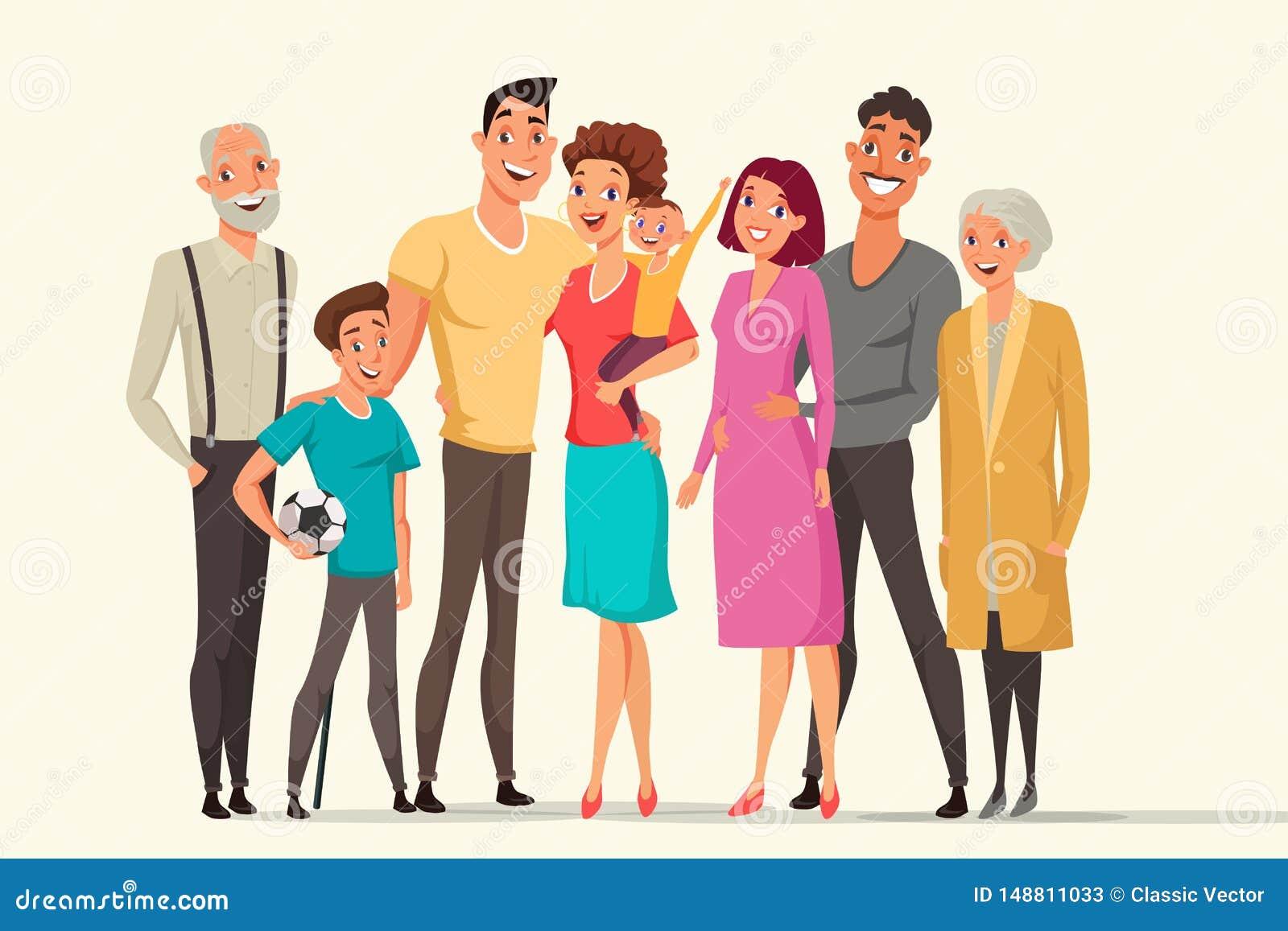 Big family taking flat vector color illustration