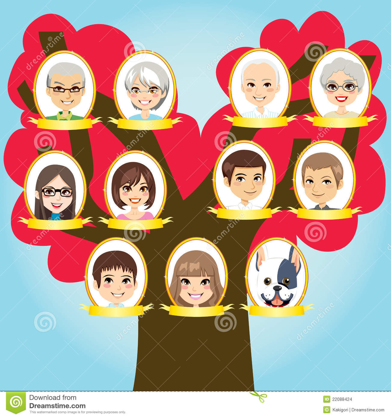 Big Family Tree Stock Vector Illustration Of Happy Grandfather