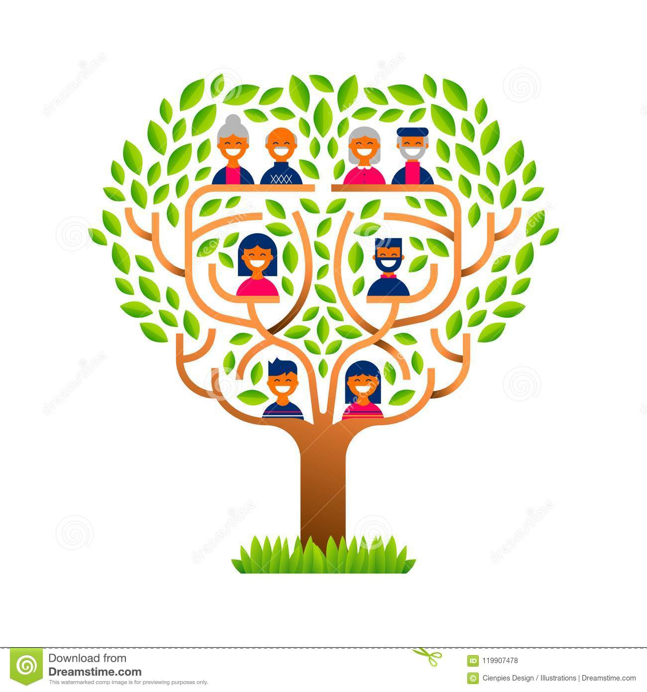 Big Family Tree With Happy People Icons Stock Vector Illustration