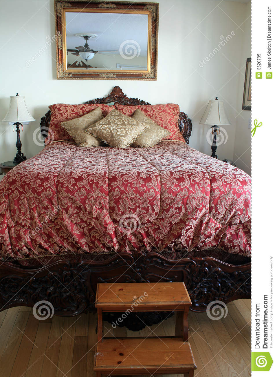 Big fancy bed stock image. Image of pillows, three, wooden ...
