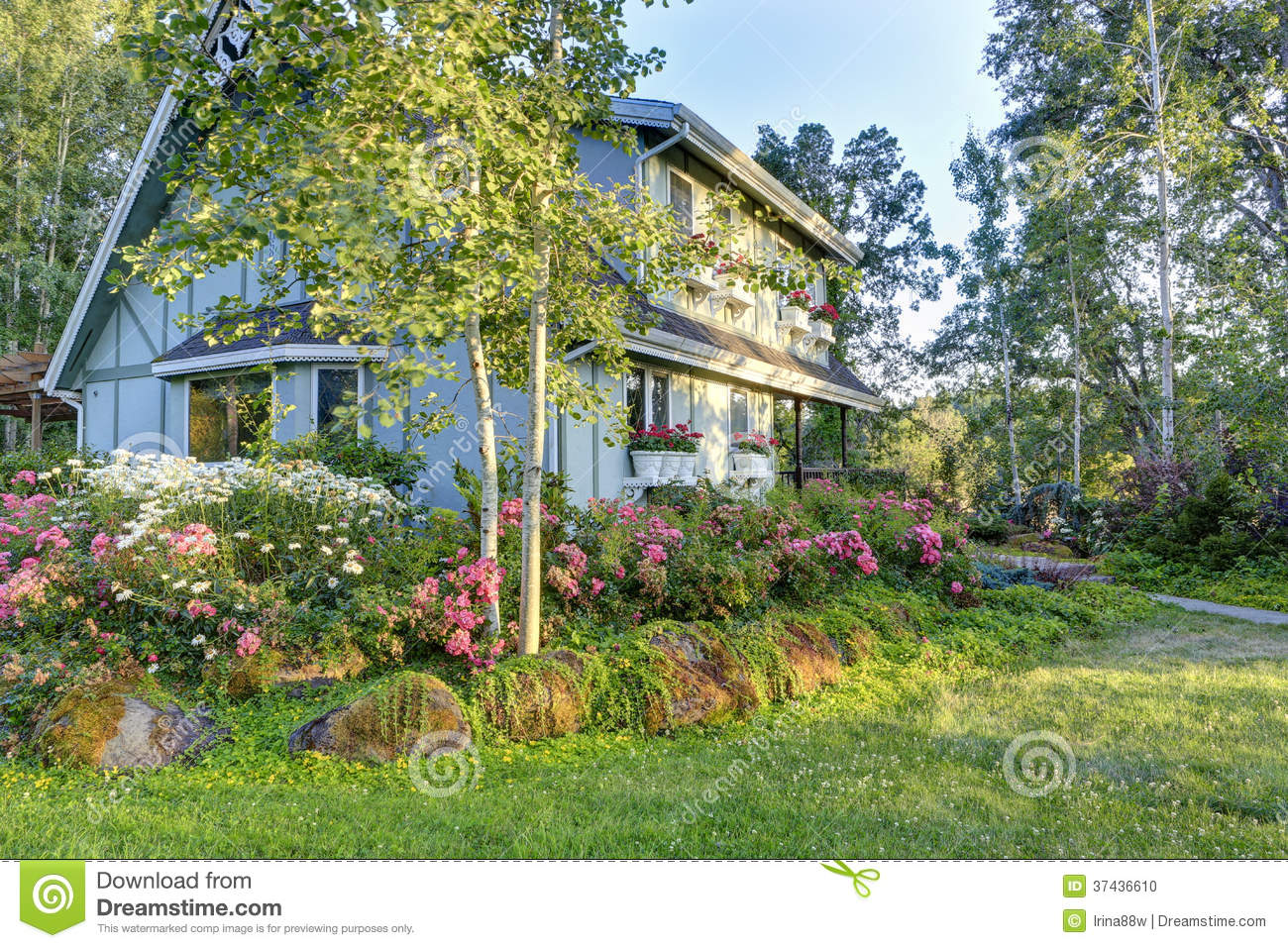big farmhouse with beautiful flowerbed stock photo image panoramio photo of side of large old farmhouse