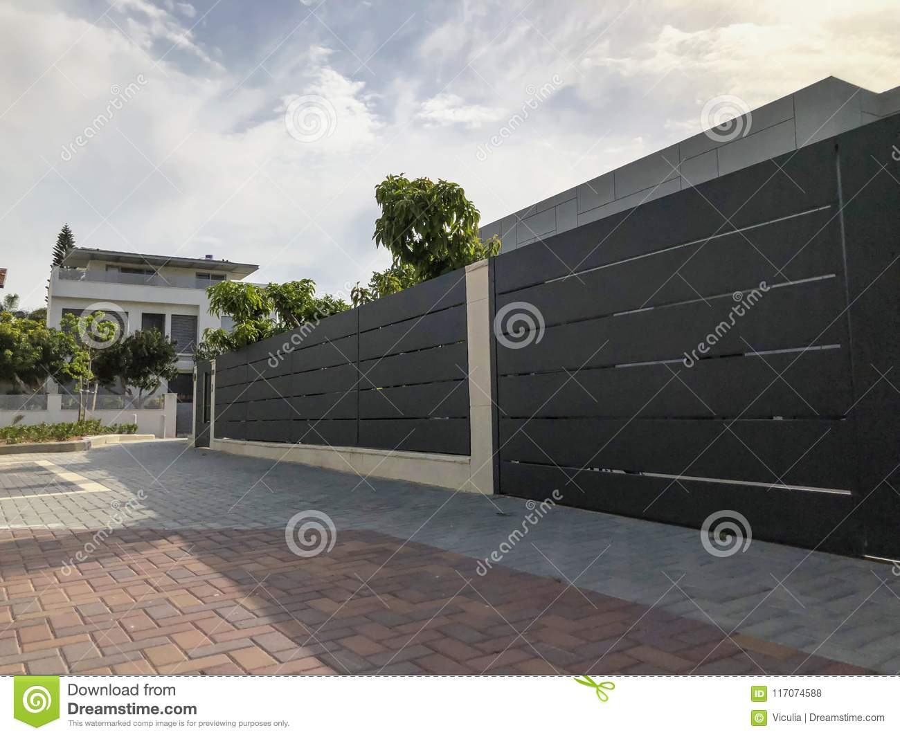 The Big Fence And Private Modern Houses On The Streets In Rishon ...