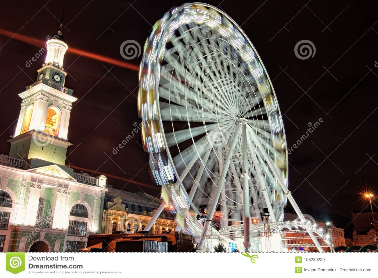 evening view of the andreevsky descent big ferris wheel at christmas markets at