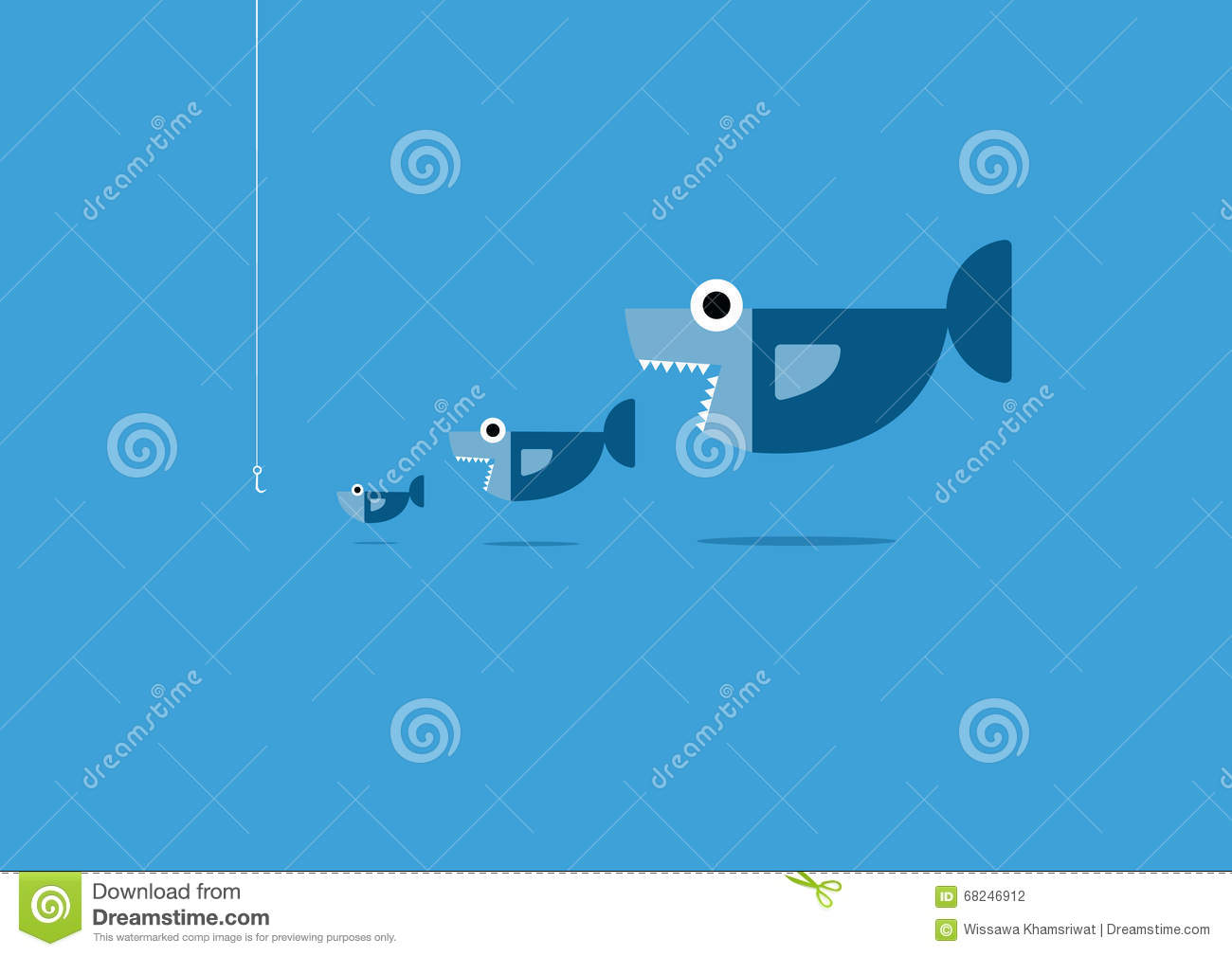 Big fish eat little fish stock vector image of small for Giant fish hook