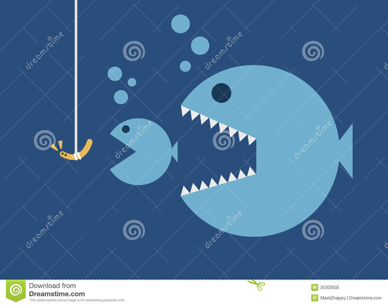 Big fish eat little fish hook and worm bait royalty free for Big fish little fish