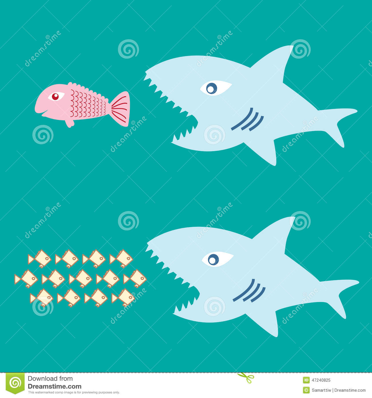 Big fish eat little fish stock vector image 47240825 for Big fish little fish