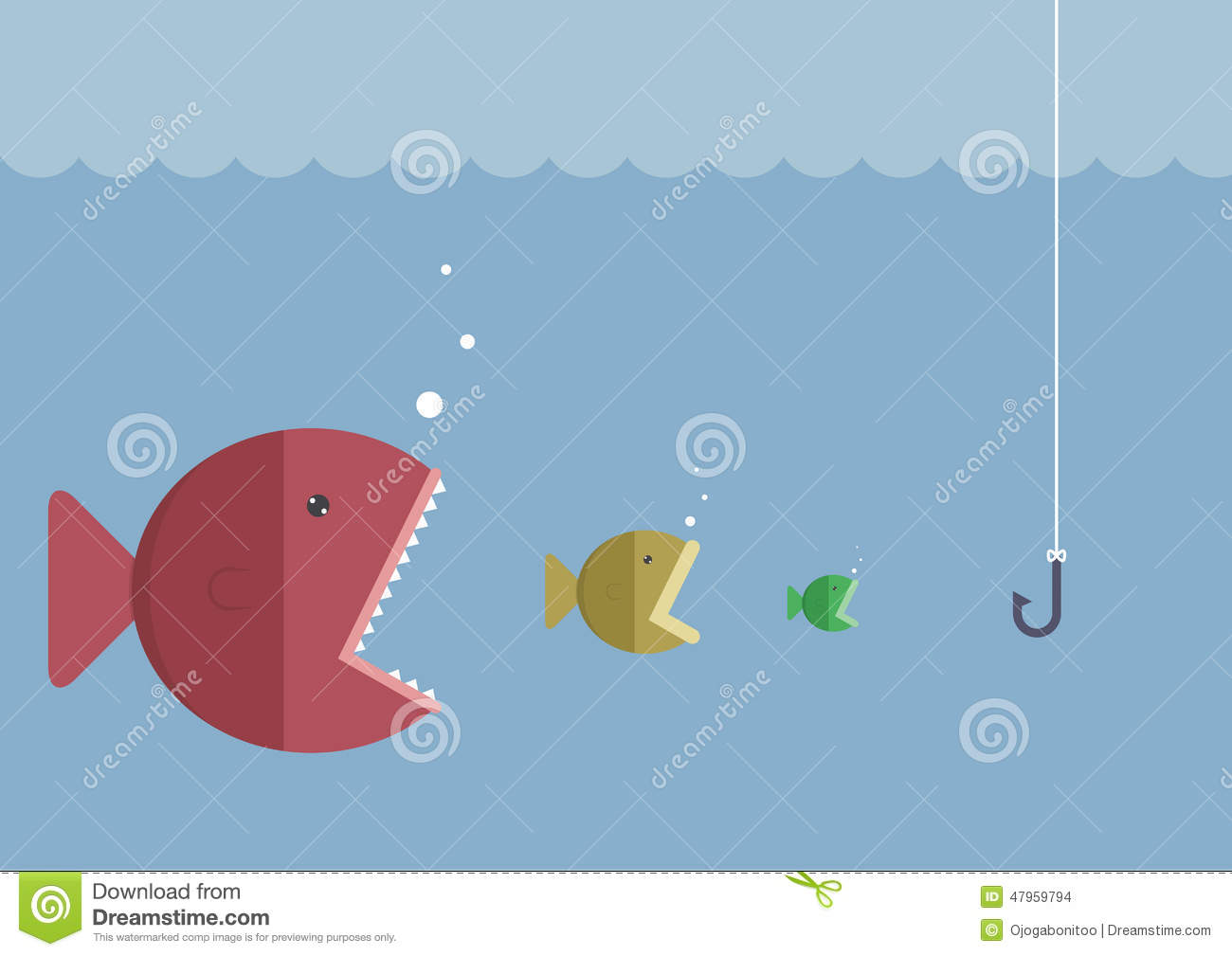 Big fish eat little fish stock vector image 47959794 for Big fish little fish