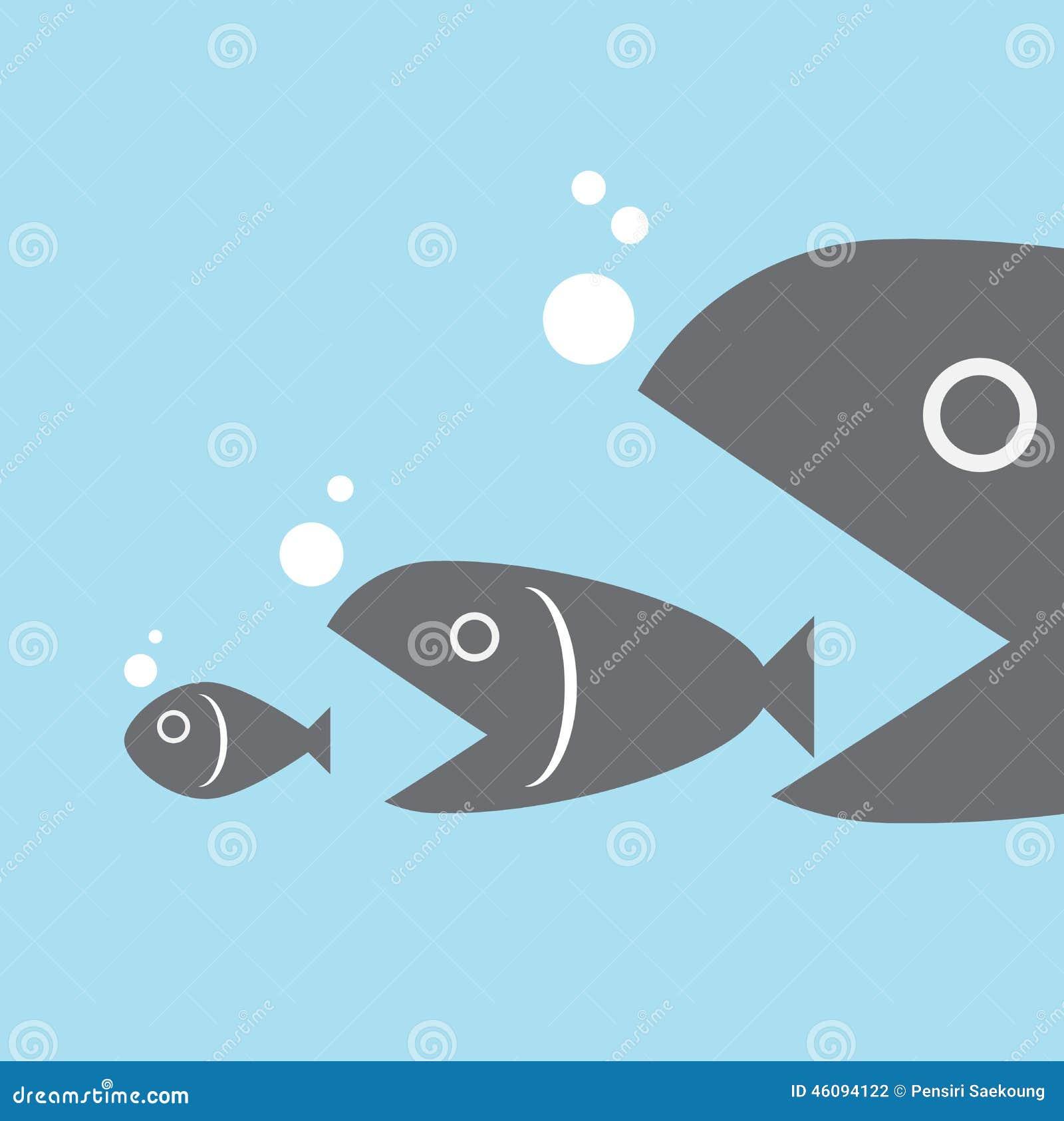Big Fish Eat Little Fish Stock Vector Illustration Of Bait 46094122
