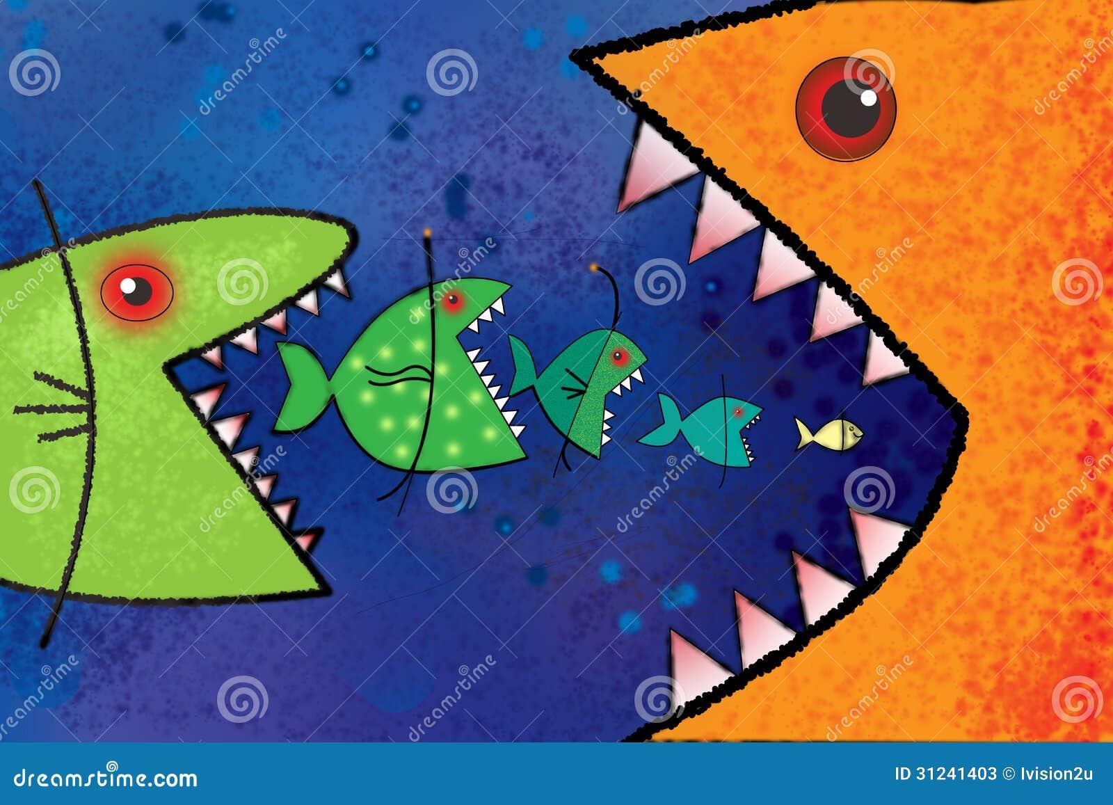 Big fish eat small fish stock photos image 31241403 for Big fish eat small fish