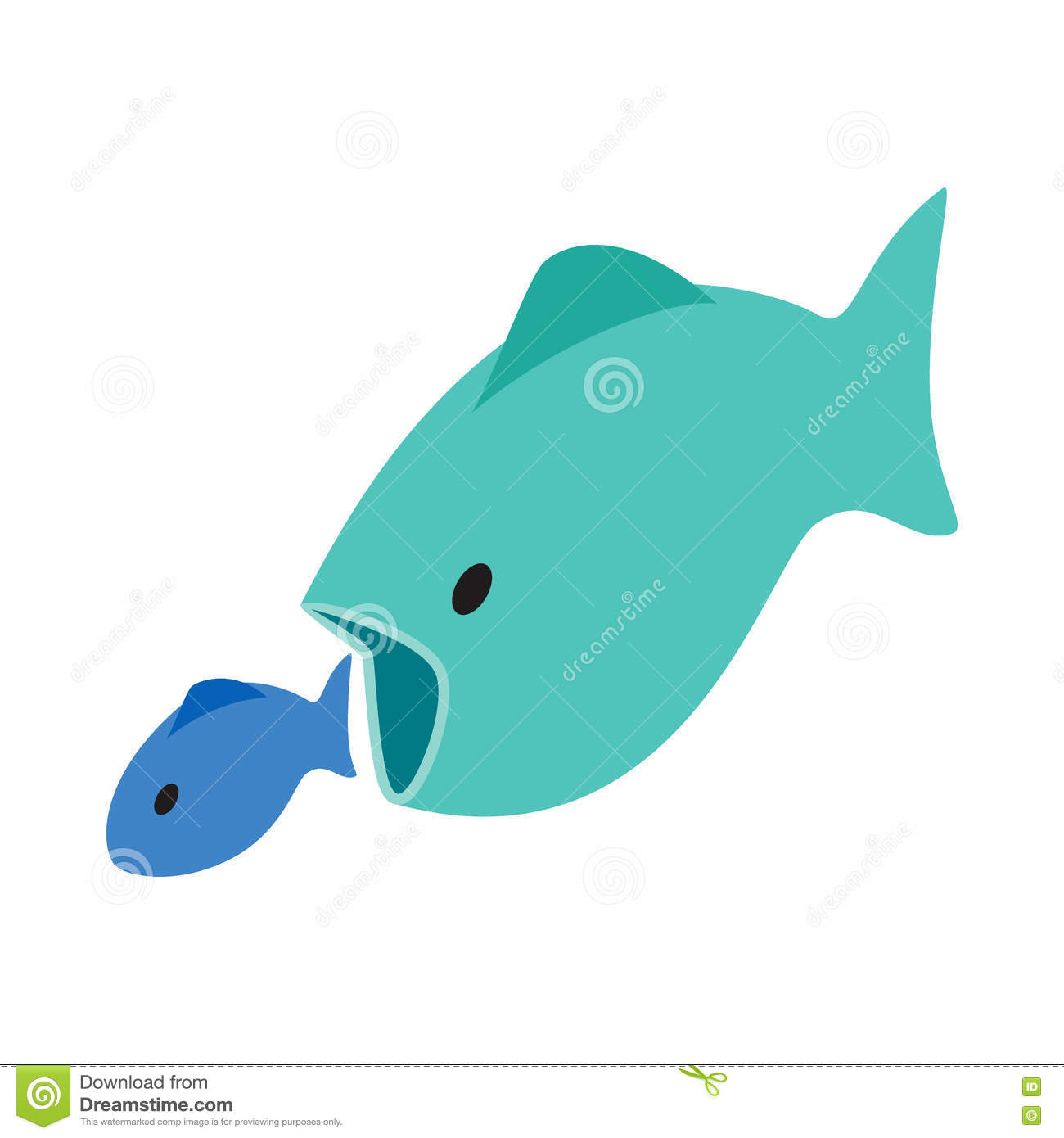 Big fish eats little fish icon isometric 3d style stock for Big 5 fishing license