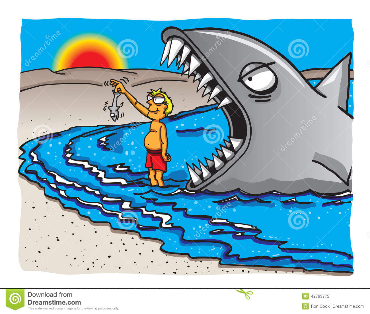 Shark eating a fish cartoon the image for Dreaming of eating fish