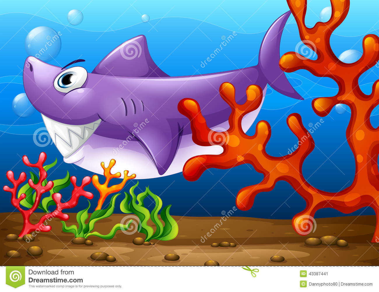Stock Illustration Big Fish Under Sea Illustration Image43387441