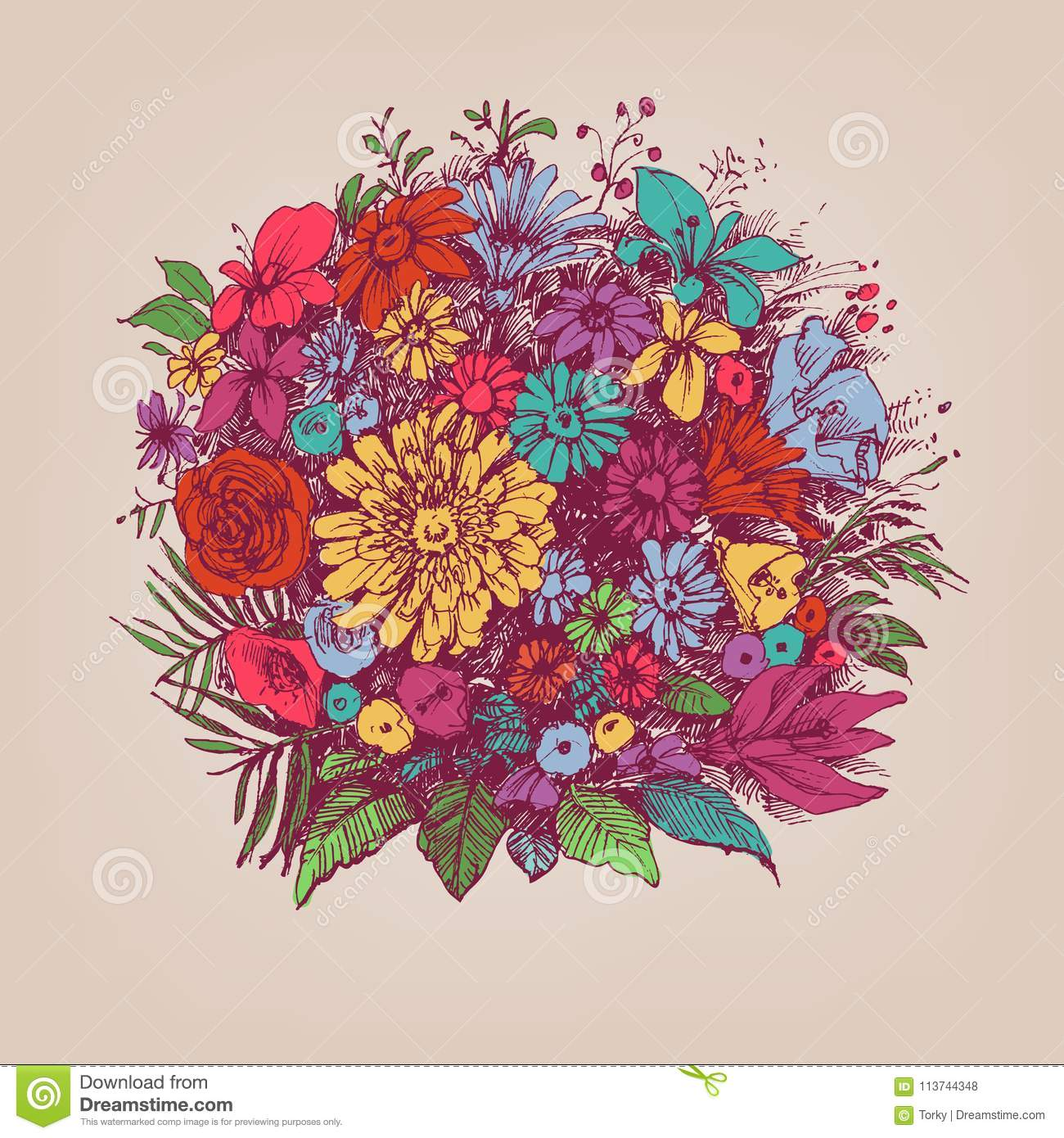 Big Floral Bouquet Stock Vector Illustration Of Birthday 113744348