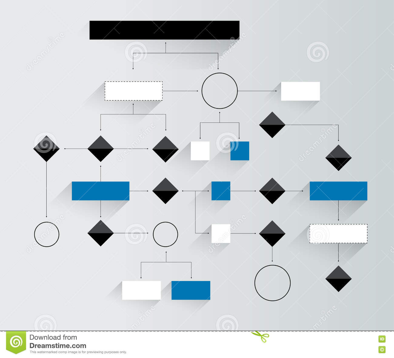 Big flowchart. Geometric scheme. Presentation infographics element without text.