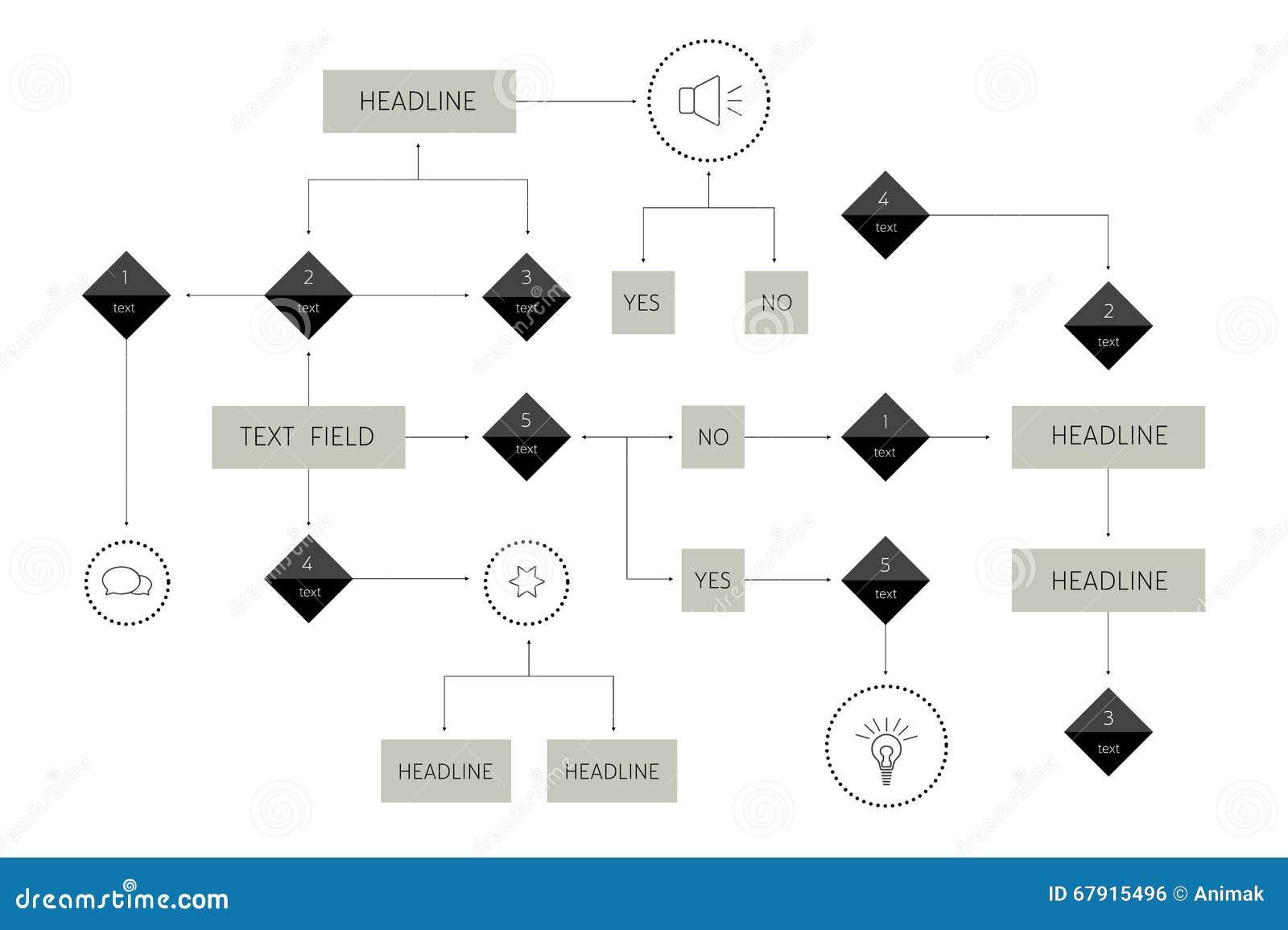 Big flowchart. Geometric scheme. Presentation infographics element.