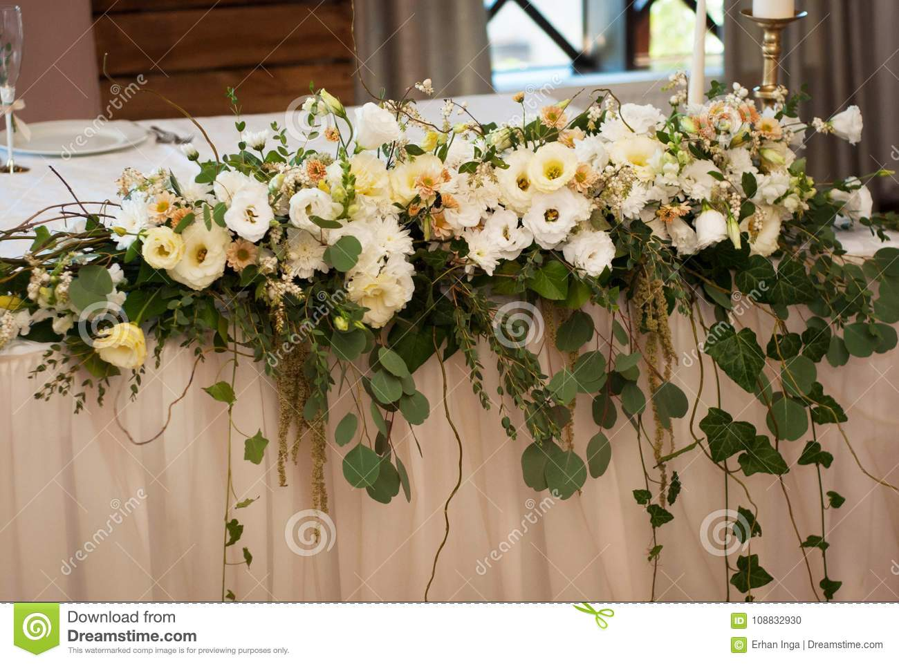Big Flower Arrangement Or Composition On Wedding White Table Rustic Style Decor With Flowers Stock Photo Image Of Bride Botanical 108832930