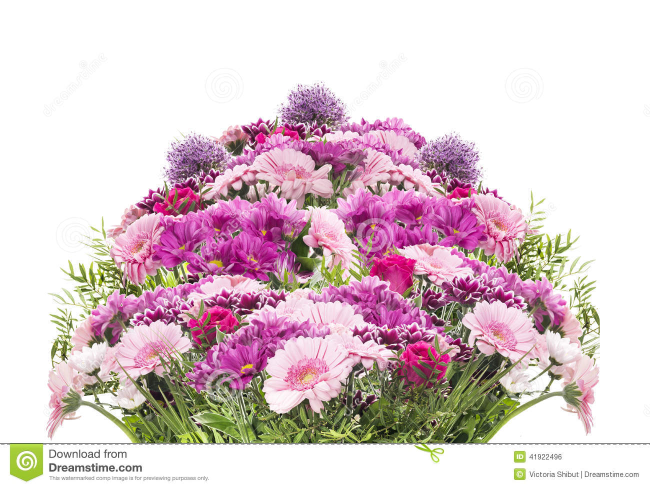 Big flower bouquet with pink summer flowers isolated for Big bouquets of flowers