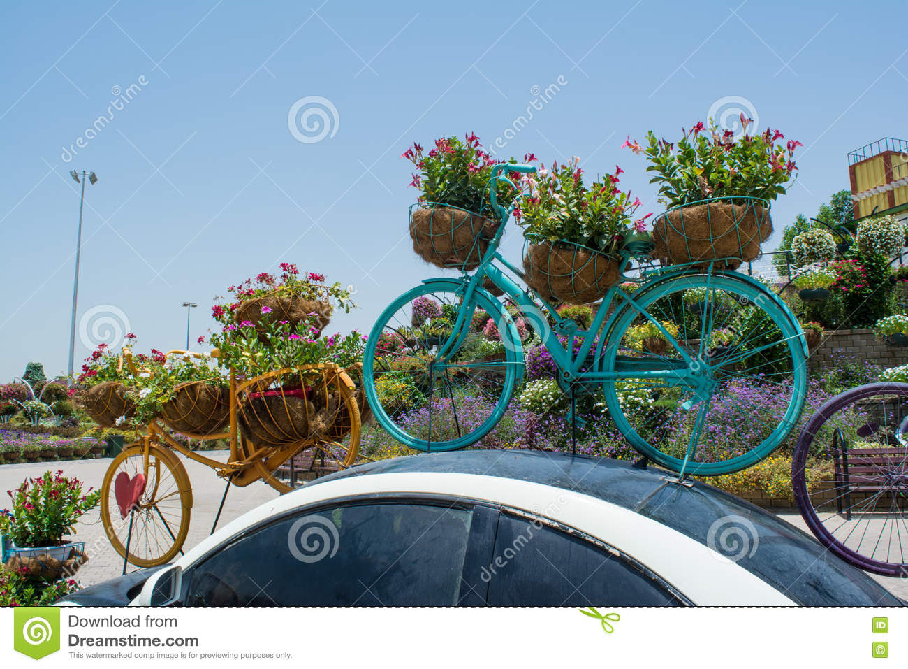 Big flower pots shaped bicycles on the top of the car