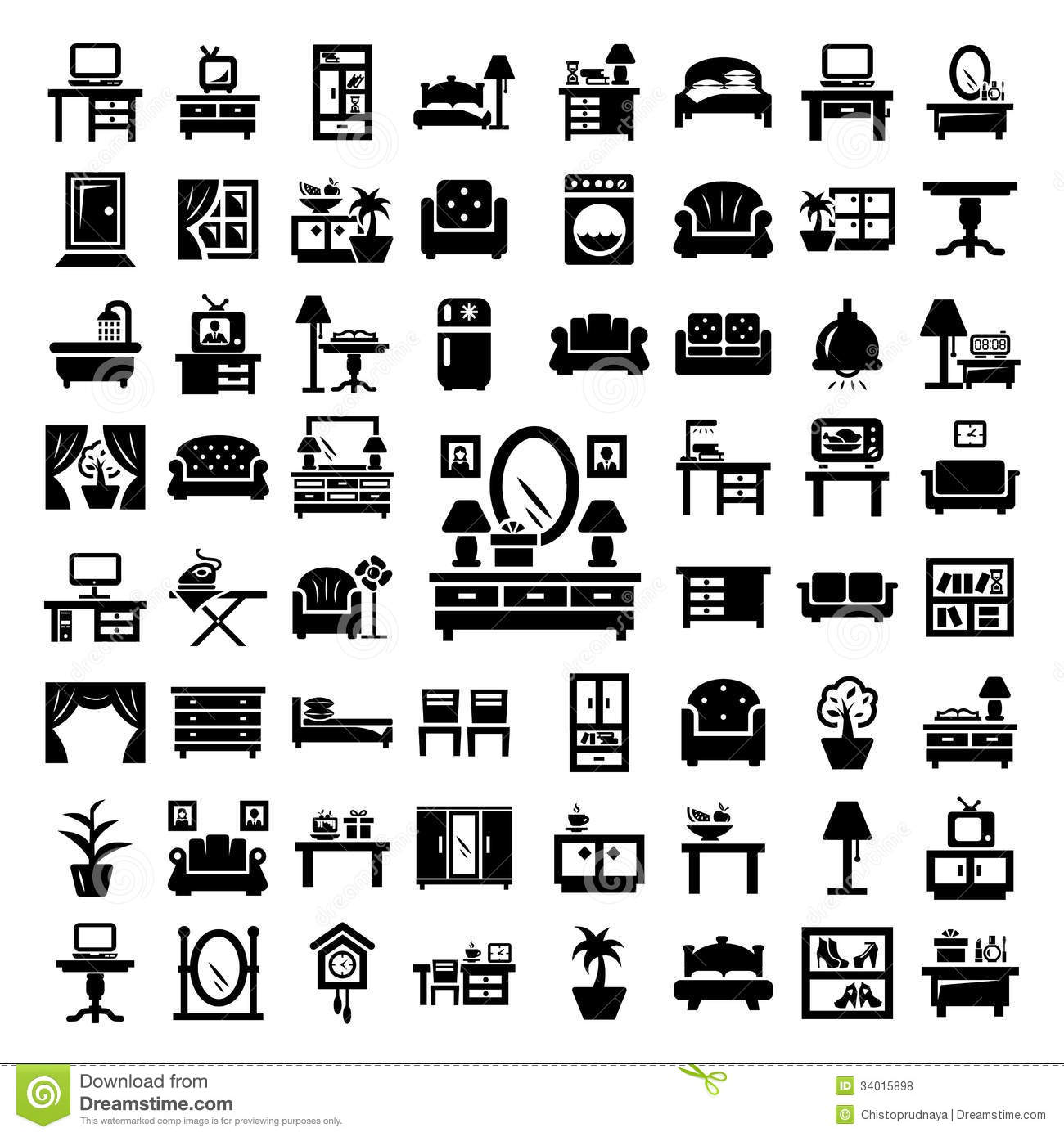 Big Furniture Icons Set Royalty Free Stock Photos - Image: 34015898