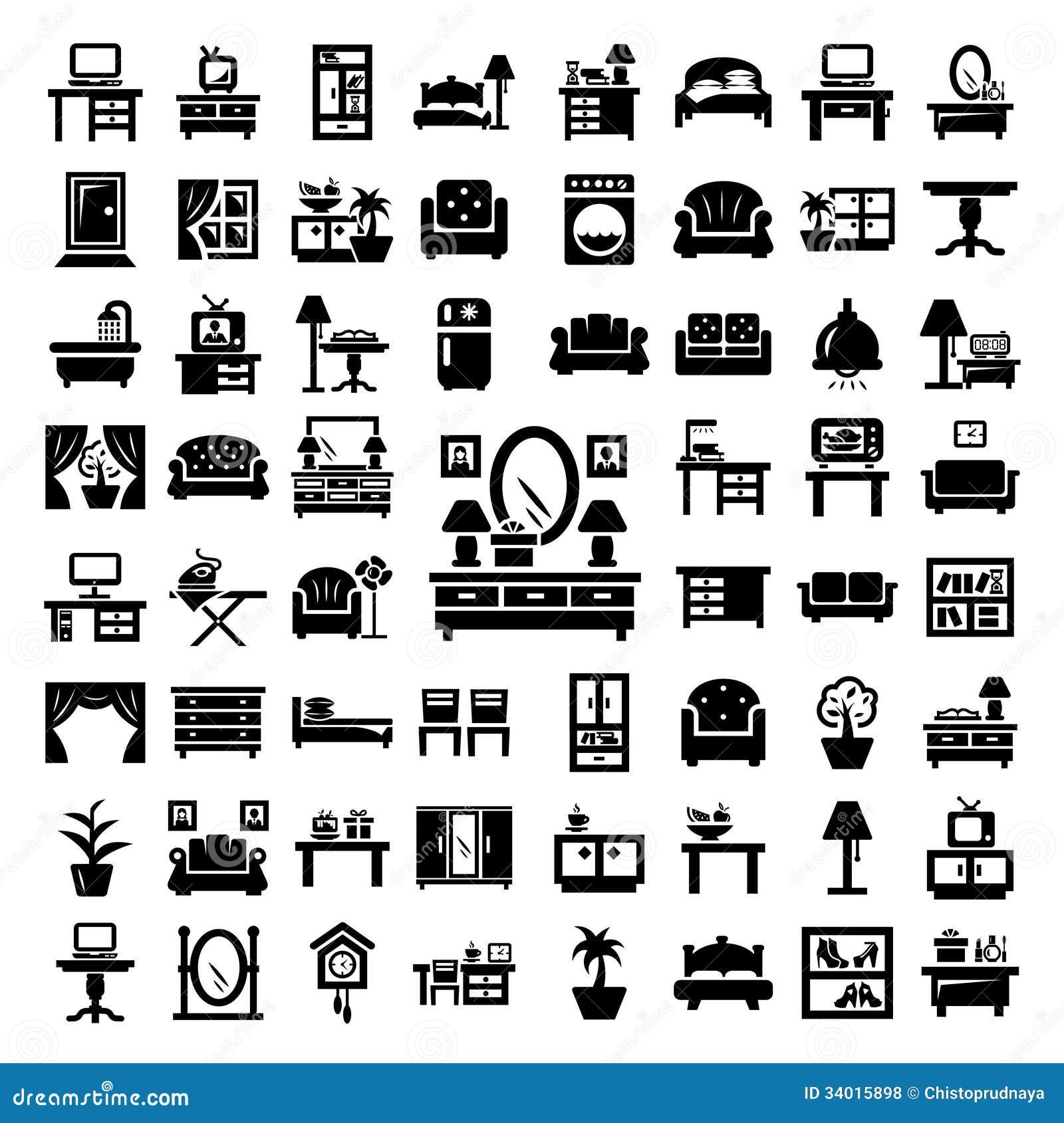 Big Furniture Icons Set Royalty Free Stock Photos Image 34015898