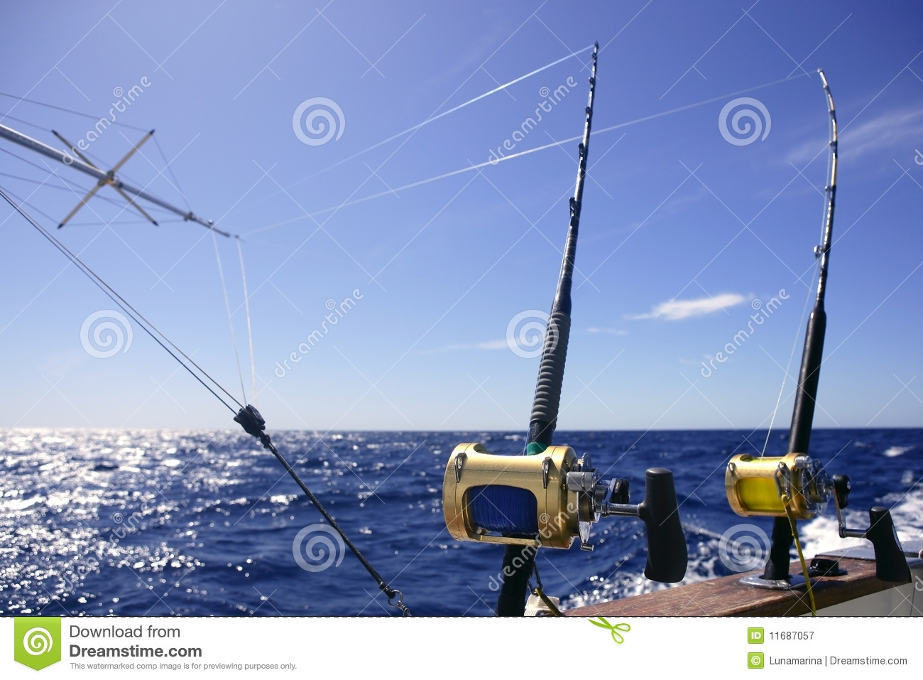 Big game boat fishing in deep sea royalty free stock for Big game fishing