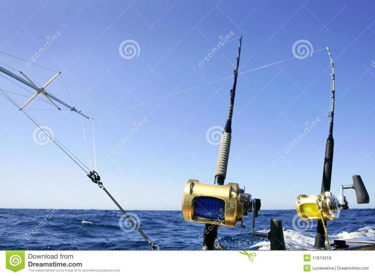 Big game boat fishing in deep sea stock image image of for Fishing boat games