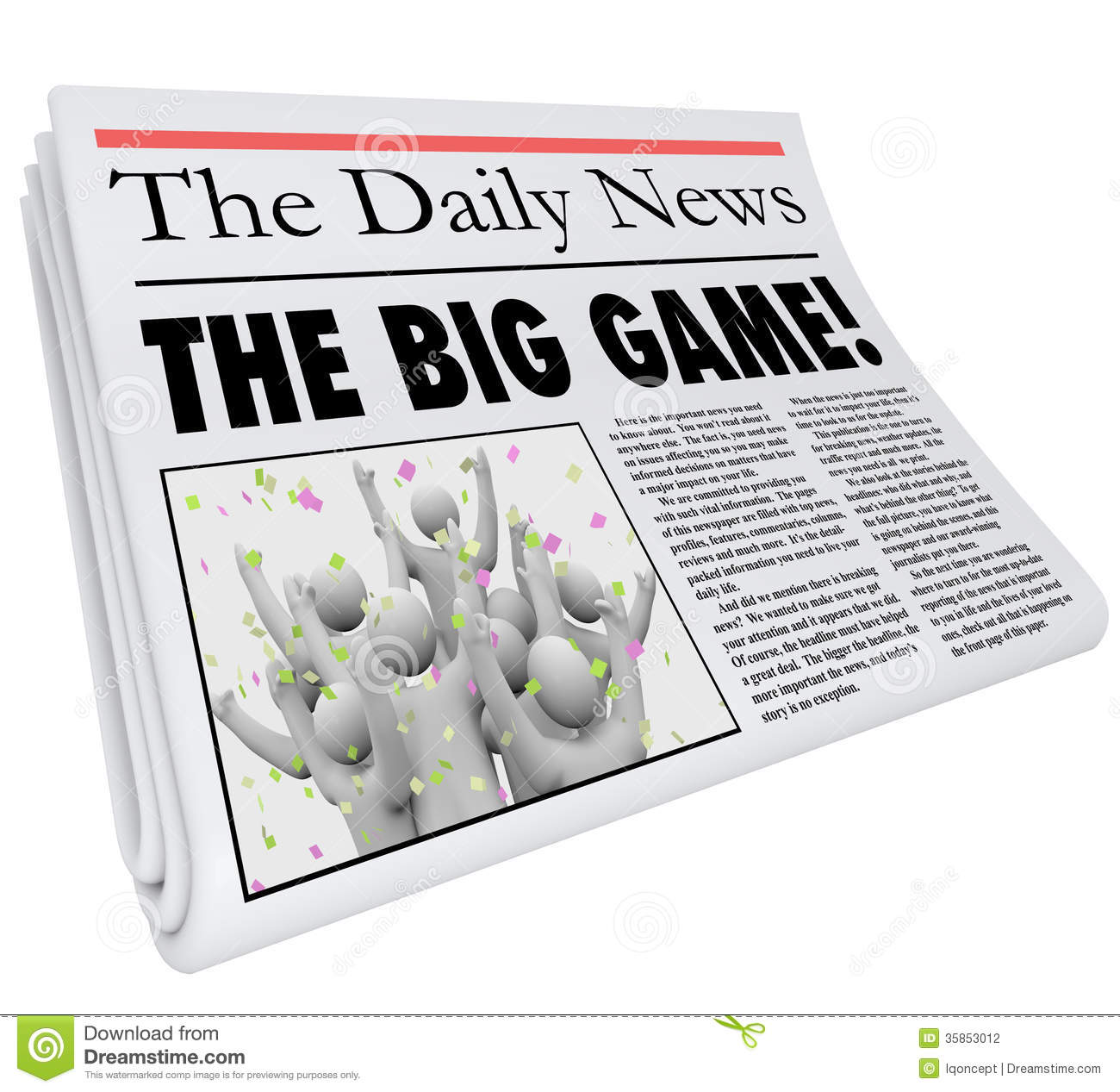 The Big Game newspaper headline sporting event competition result in a ...