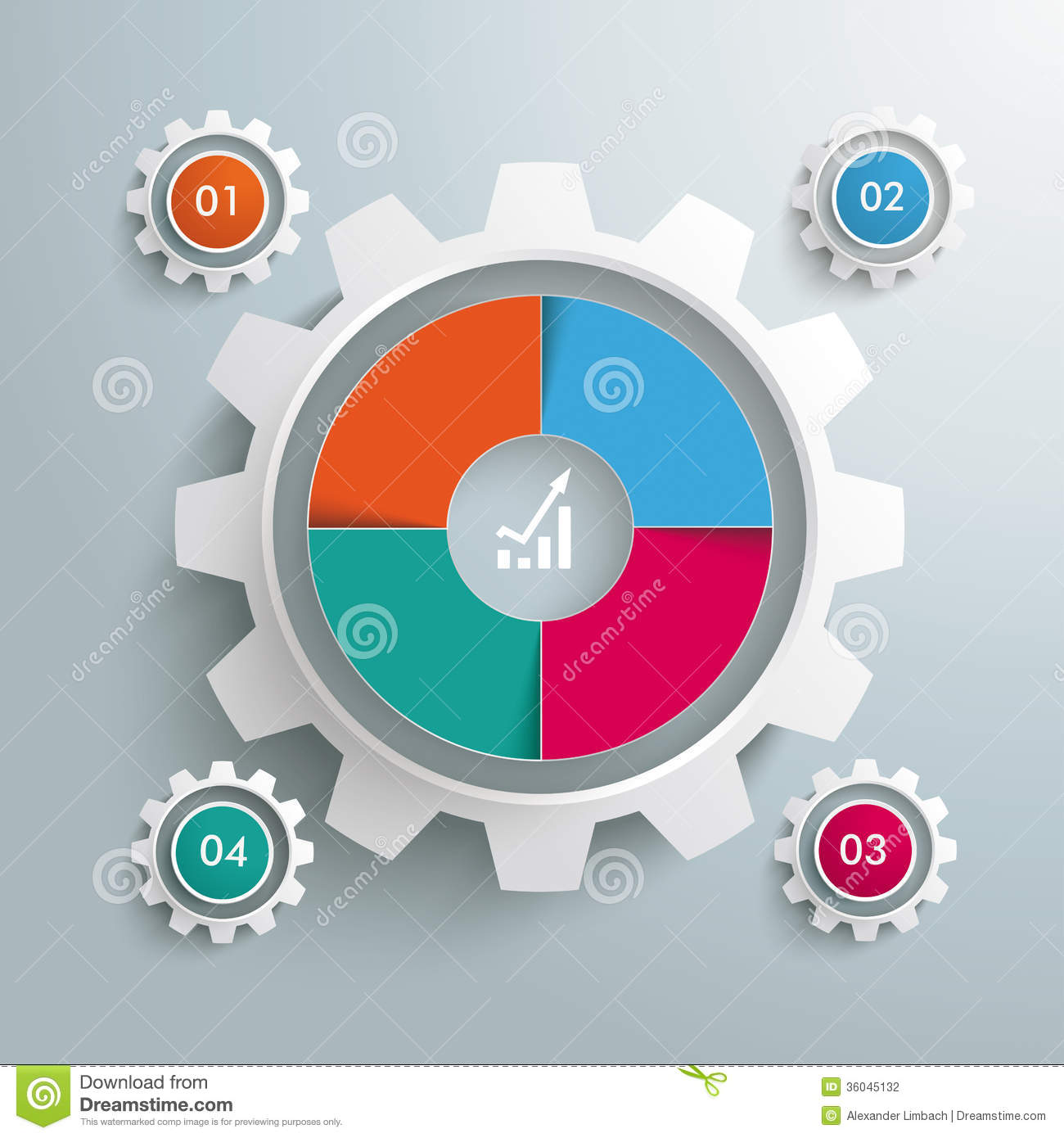 Infographic design on the grey background eps 10 vector file - Big Gear Colored 4 Options Cycle Piad Stock Photography