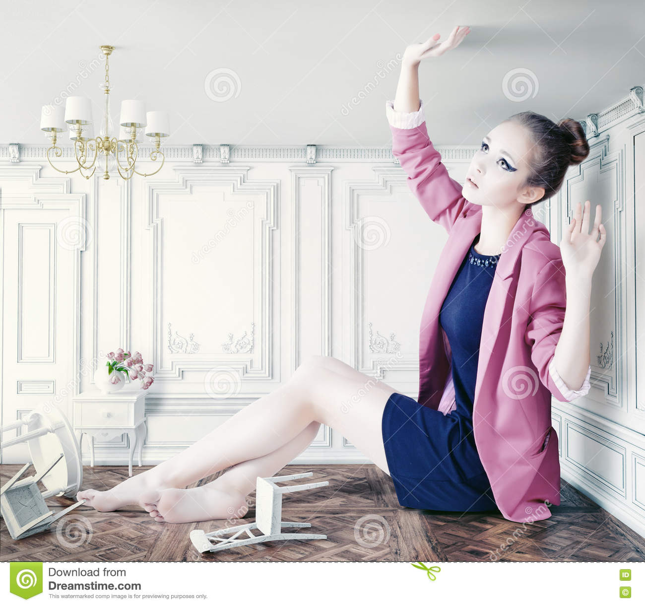 Download Big girl in little room stock photo. Image of fable, girl - 34995230