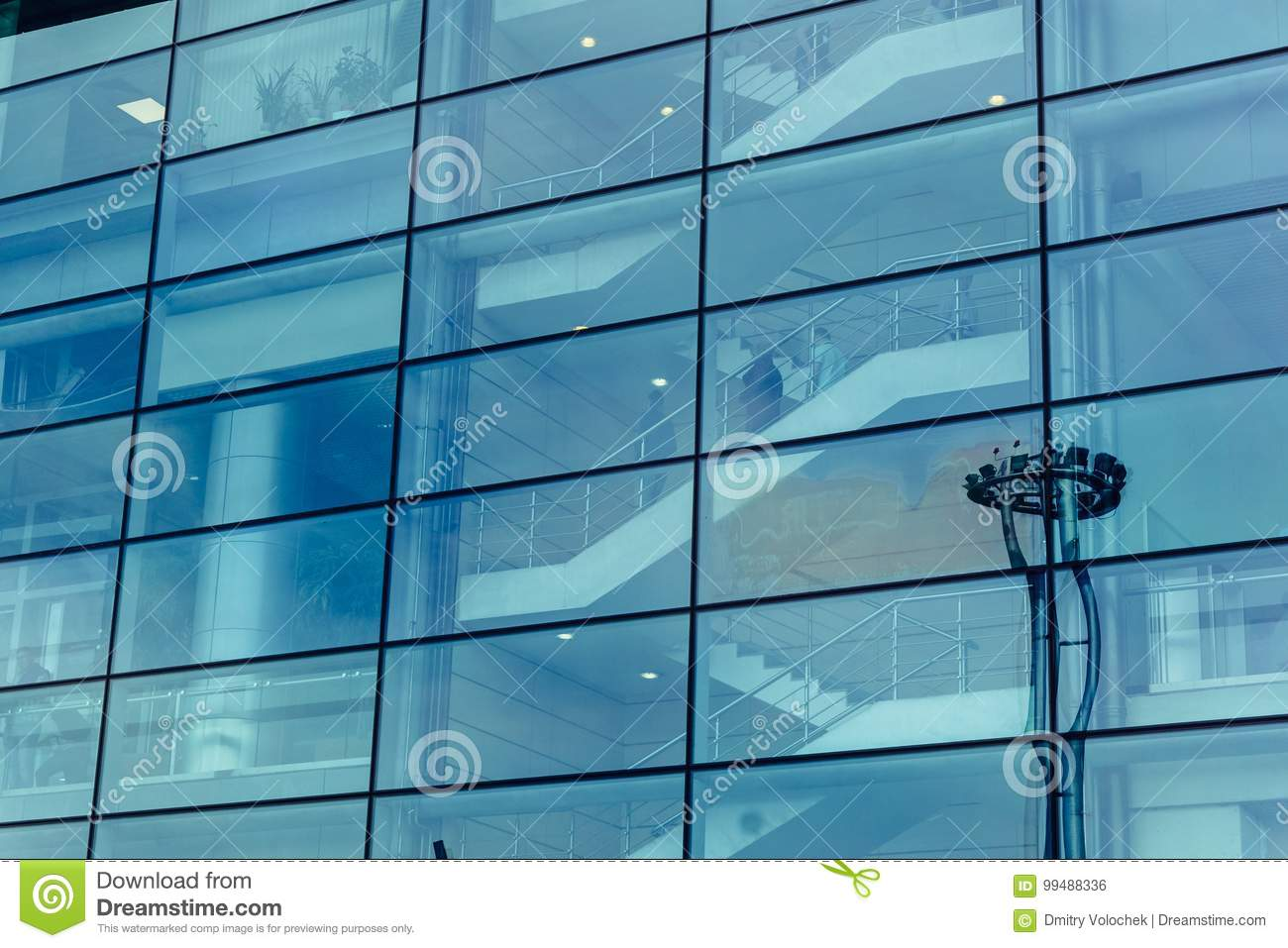 Big Glass Wall Of Modern Futuristic Office Business Building ...