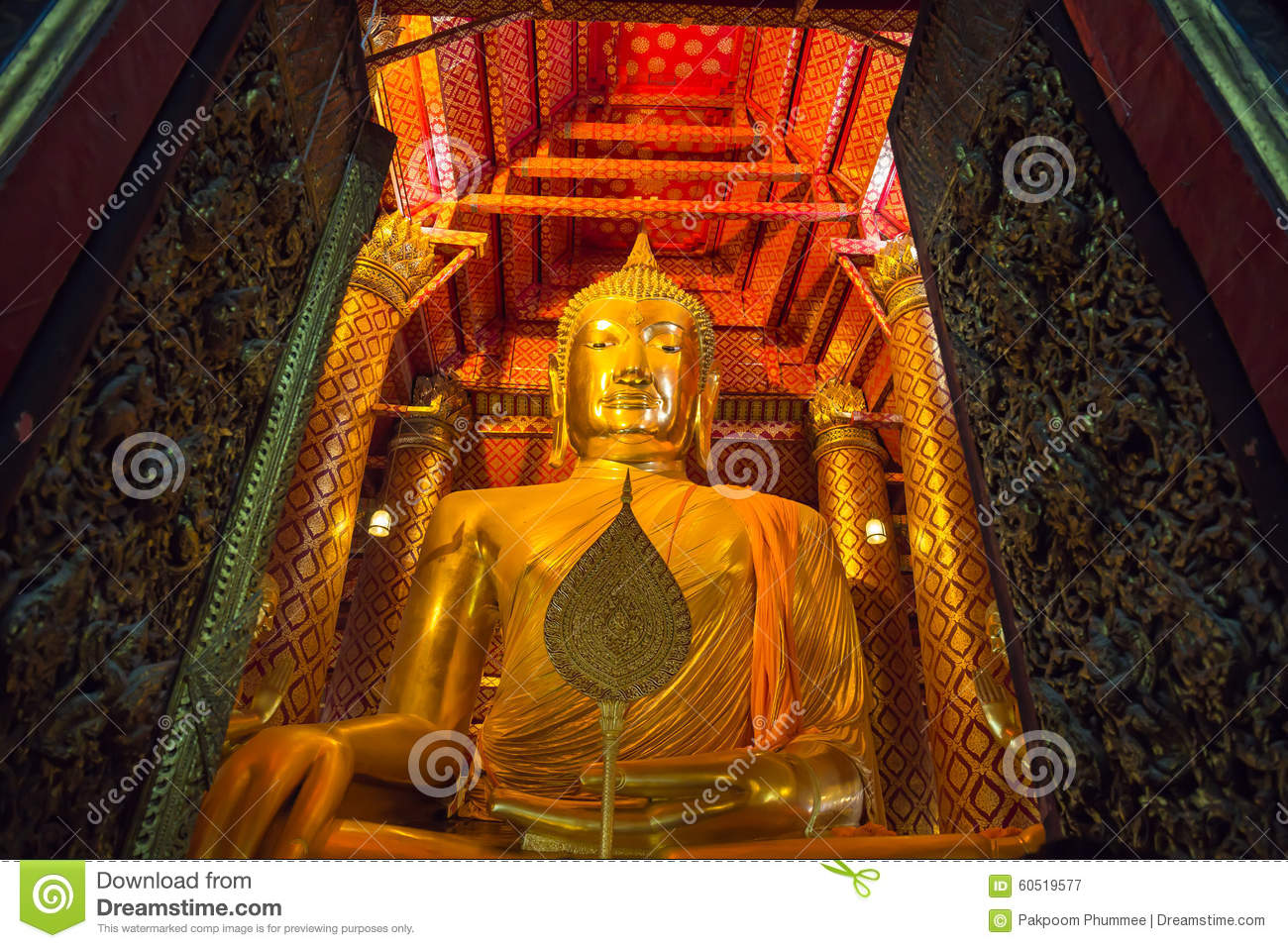 Big golden Buddha statue in temple at Wat Phanan Choeng Worawihan temple