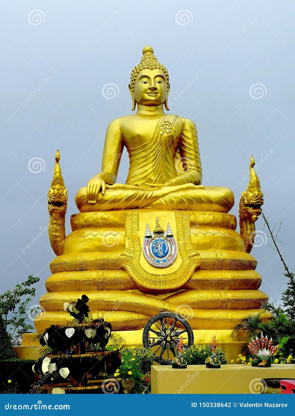 Big Golden Buddhist Sculpture in Thailand