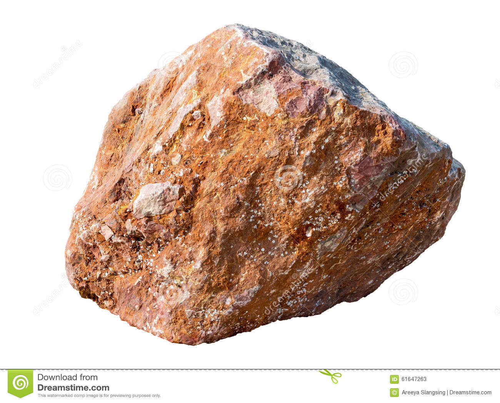 White Granite Rock : Big granite rock stone isolated on white stock photo