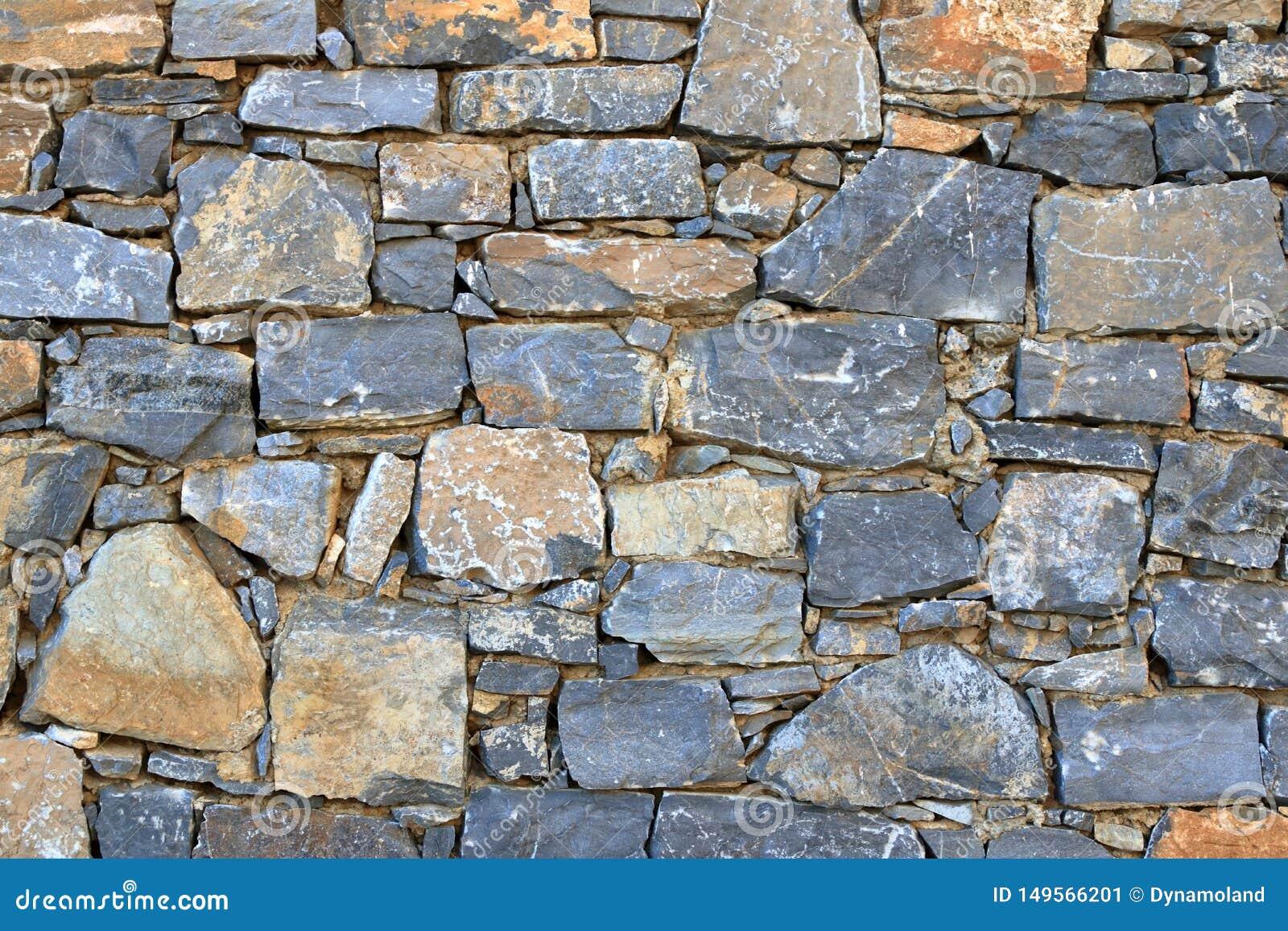 Big gray wall from stone bricks