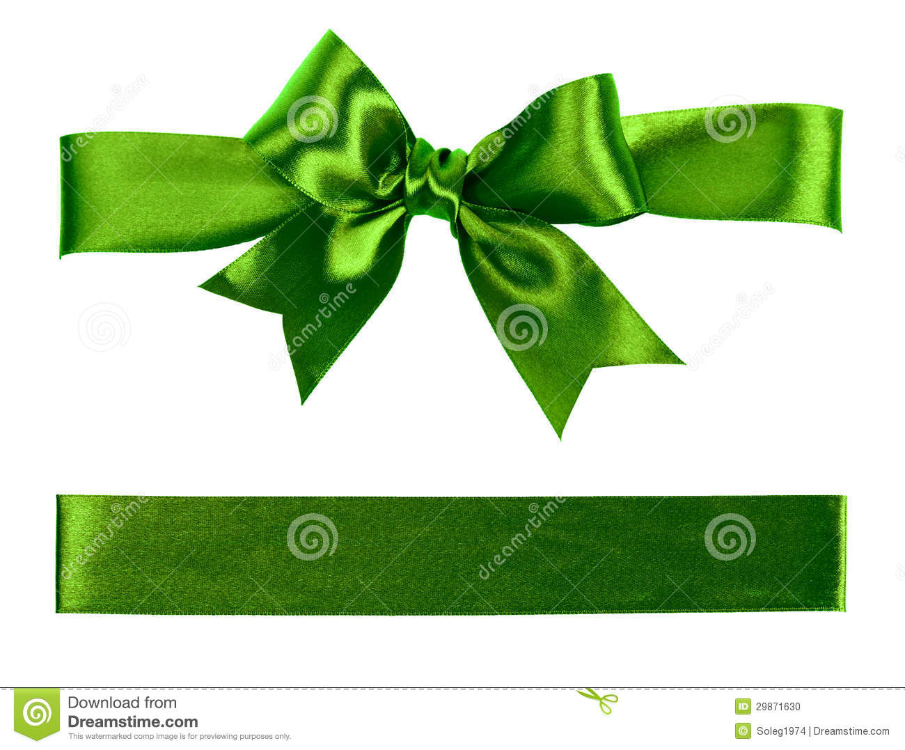 Green Christmas Bow Background Graphics: Big Green Holiday Bow On White Background Stock Photo