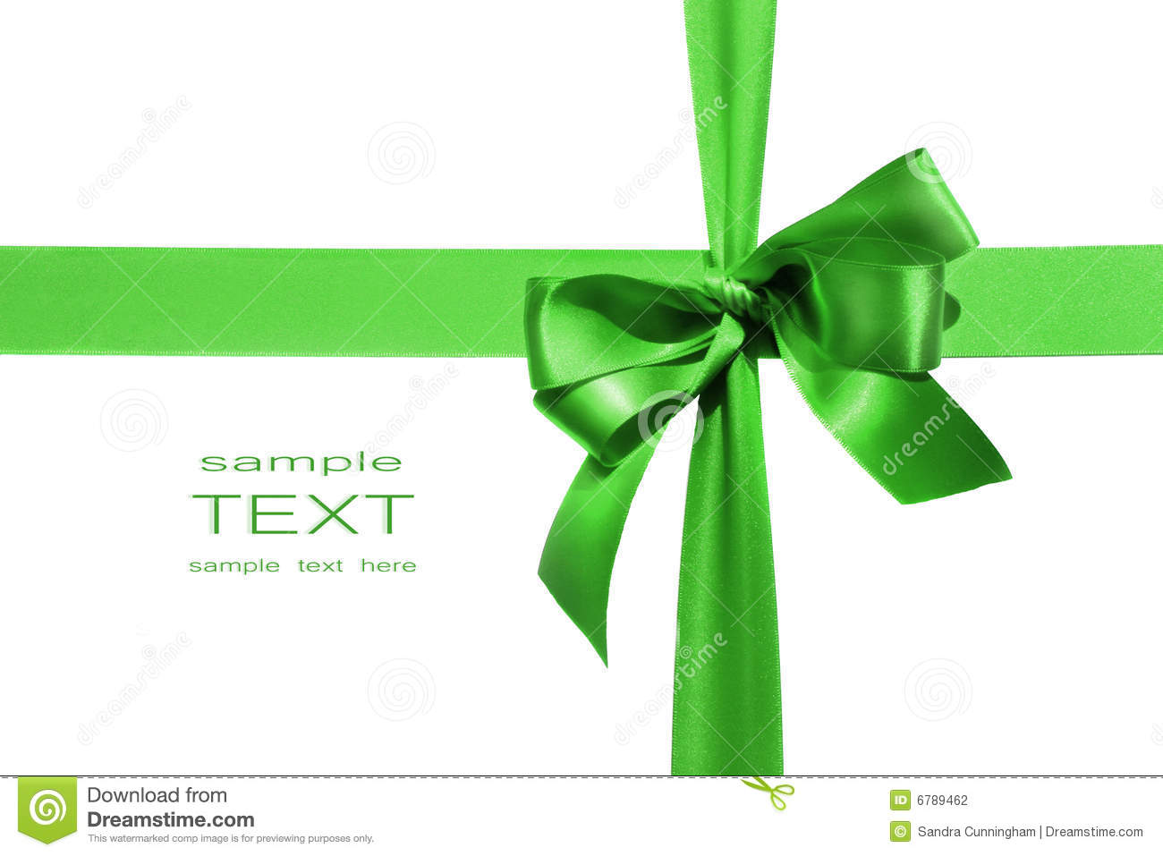 Big Green Holiday Bow On White Background Stock Photo