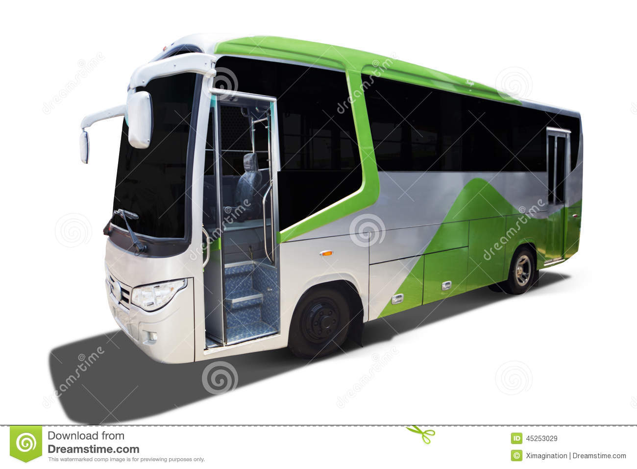 Big Green Tour Bus Stock Photo
