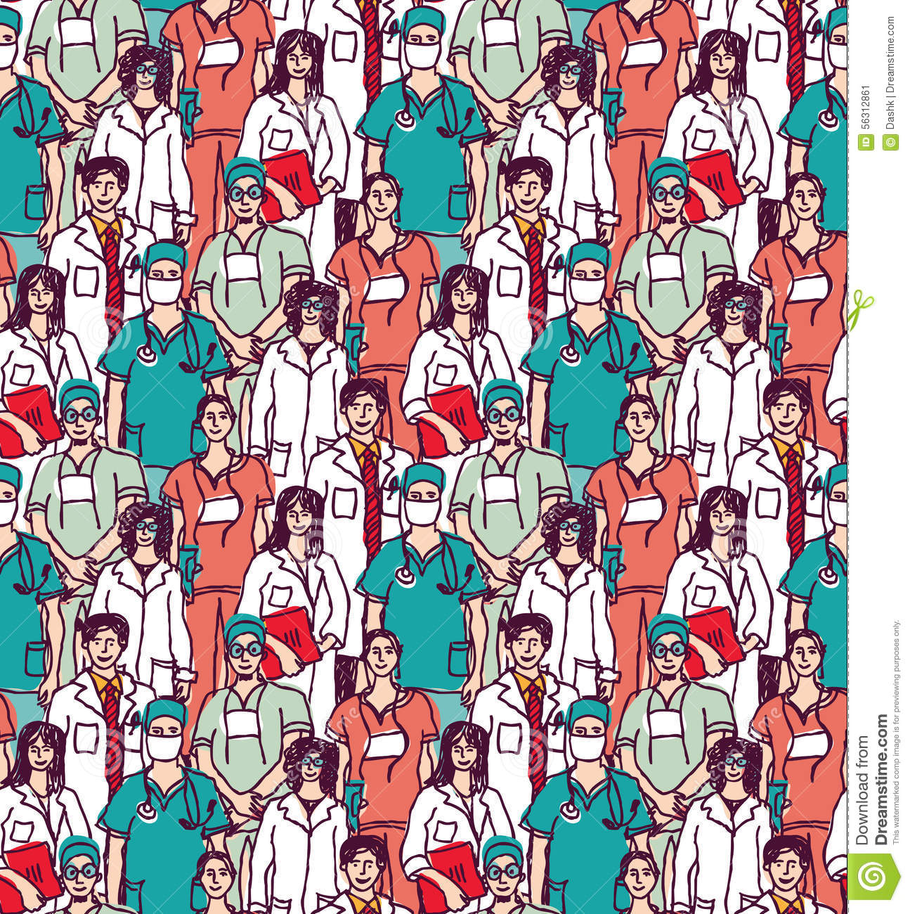 Big Group Doctors Seamless Pattern Color Stock Vector