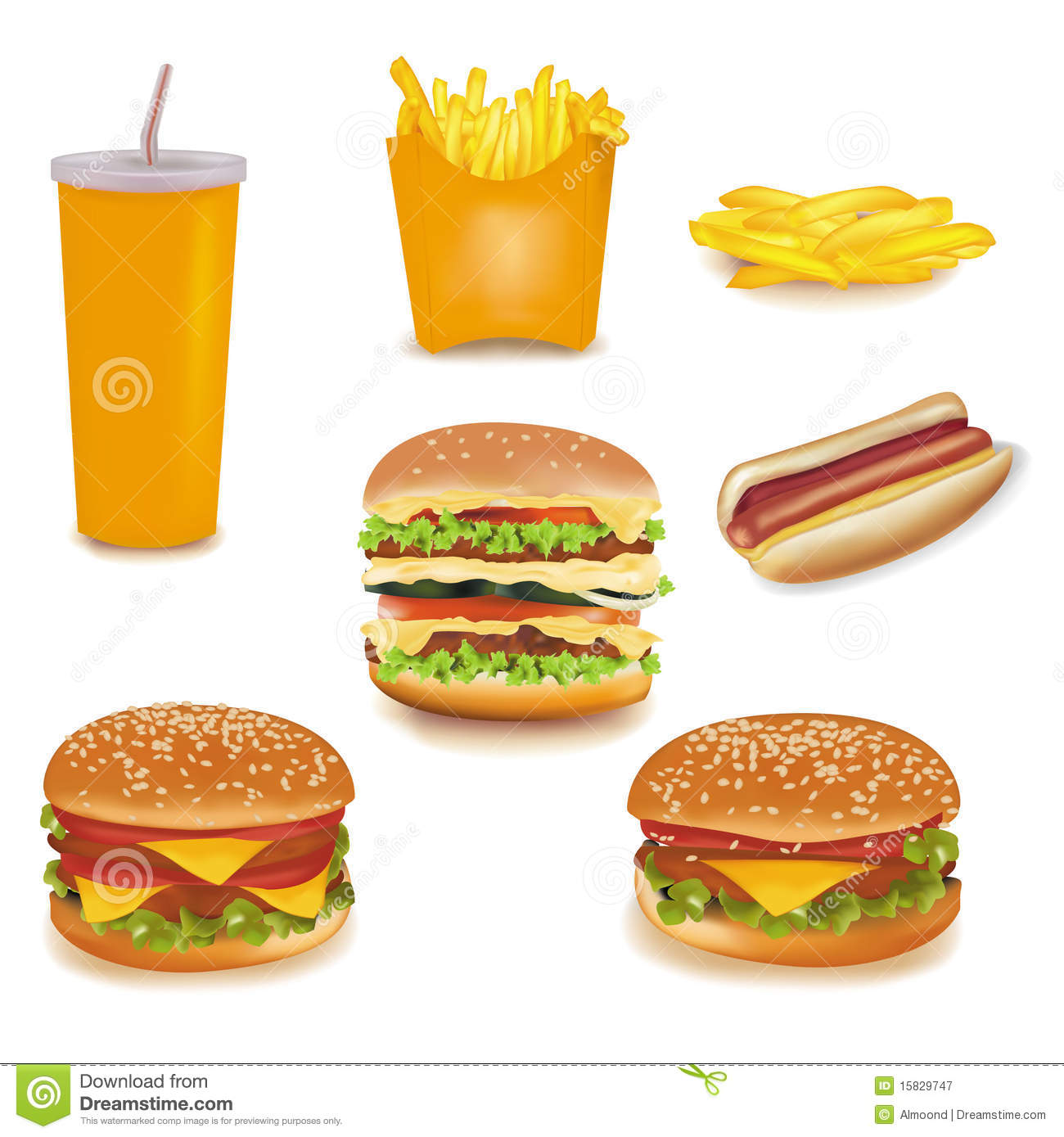 Fast Food Equipment Photos : Big Group Of Fast Food Products. Royalty Free Stock Photography ...
